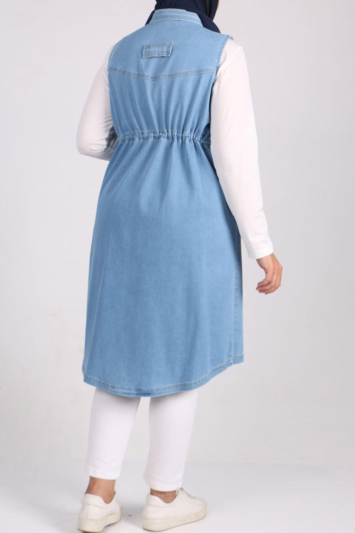 4054-1 Büyük Beden Fermuarlı-Tırnaklı Kot Yelek - Buz Mavi
