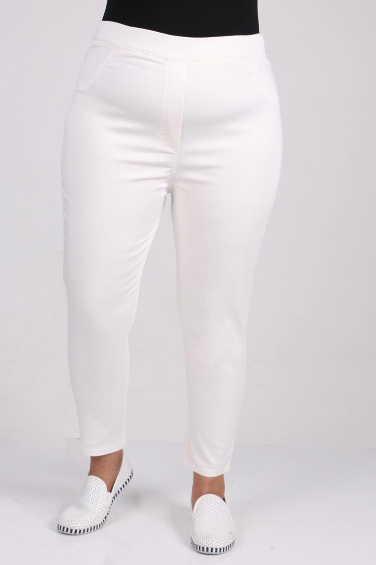 9109-1  Büyük Beden Beli Lastikli Dar Paça Kot Pantalon-Beyaz
