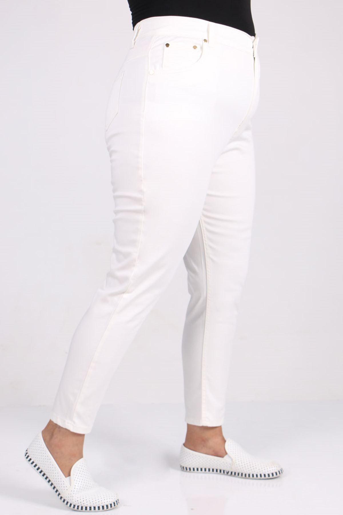 9107-1 Büyük Beden Dar Paça Kot Pantalon-Beyaz