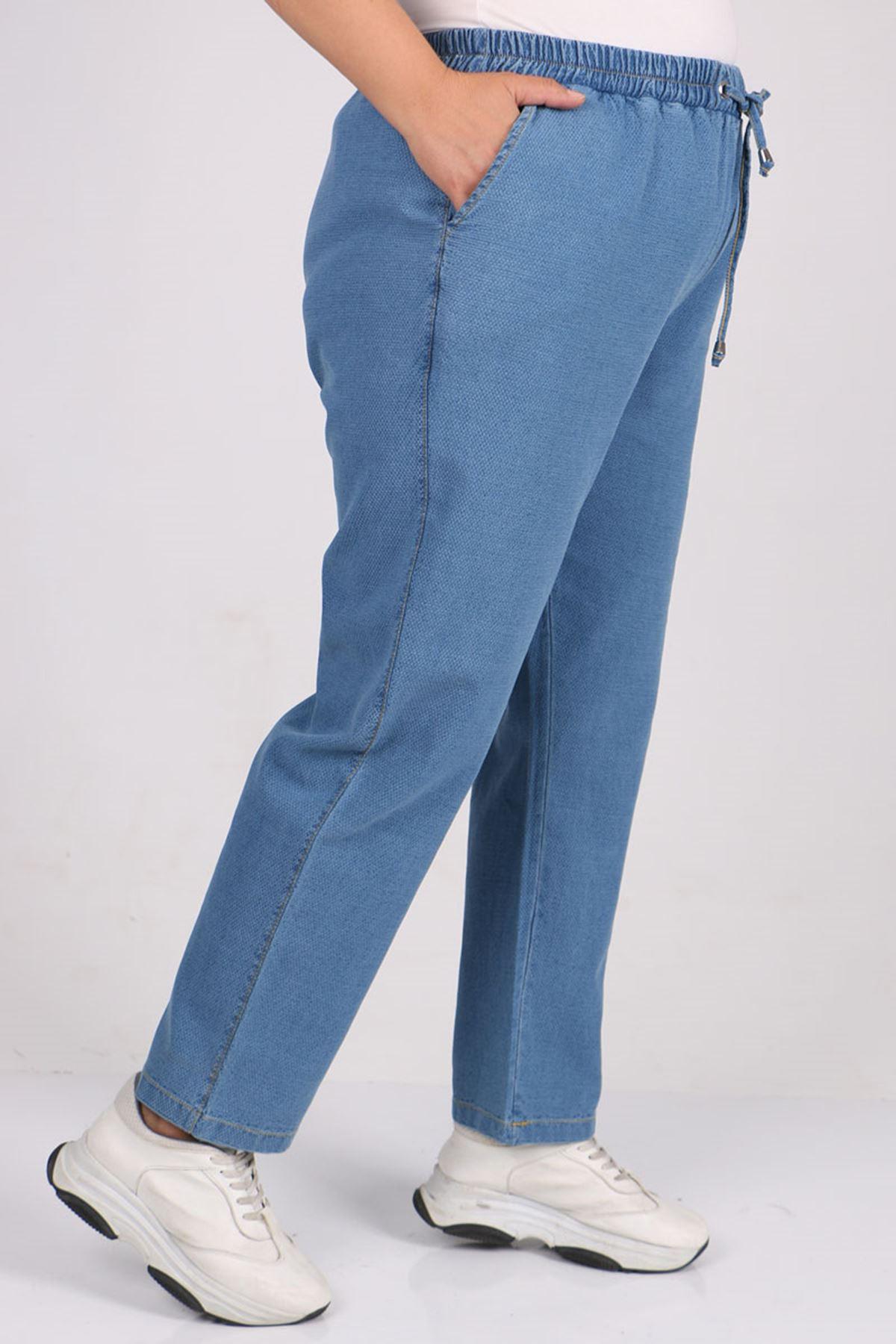 9154-1 Büyük Beden Dar Paça Kot Pantolon - Mavi