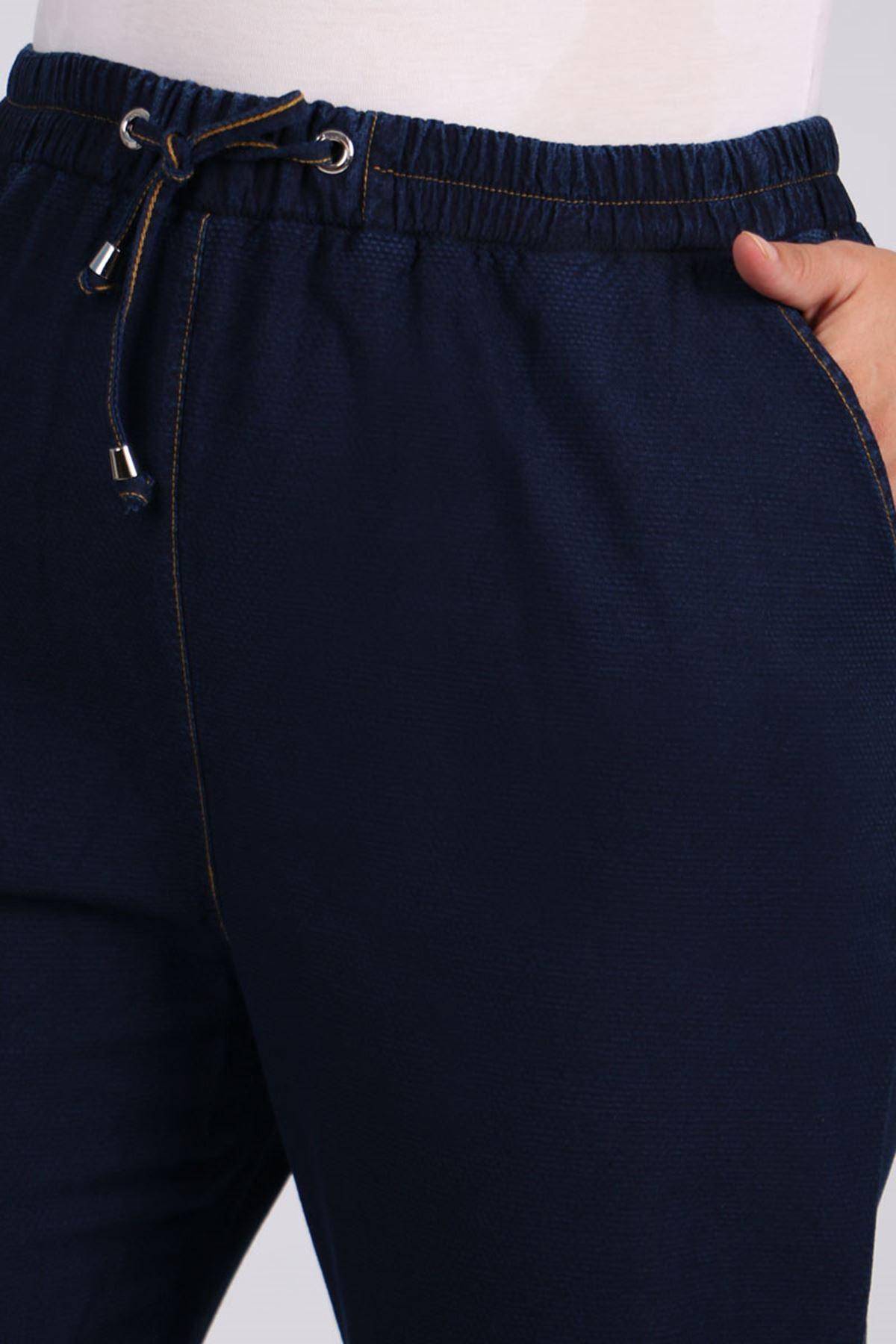9154-1 Büyük Beden Dar Paça Kot Pantolon - Koyu Lacivert