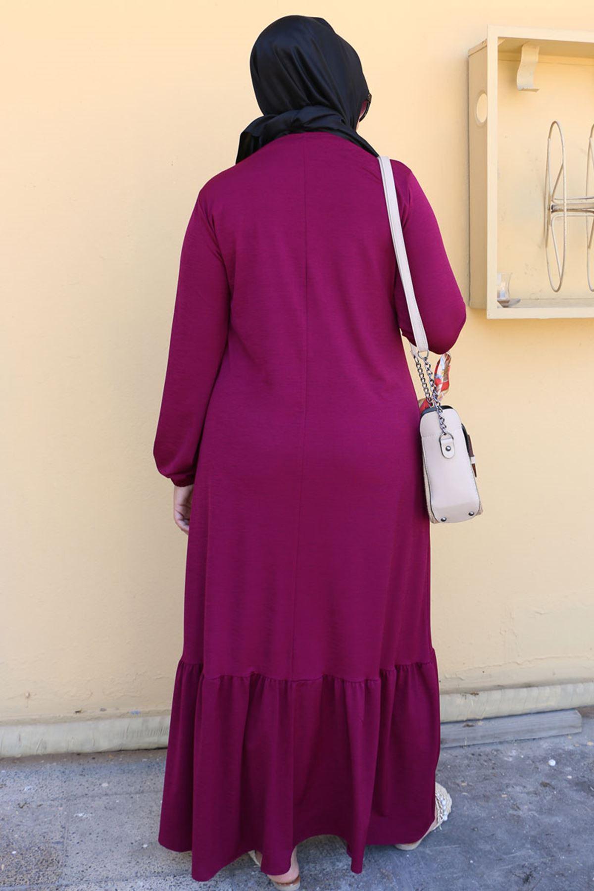 2099 Büyük Beden Mina Altı Fırfırlı Elbise - Mürdüm