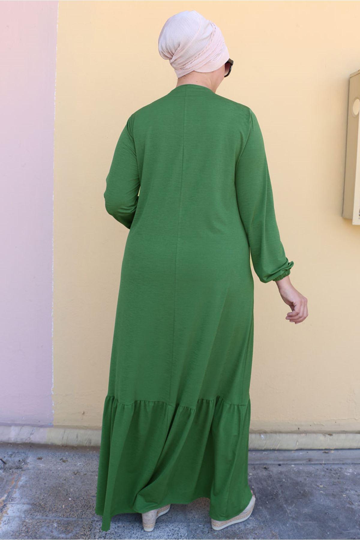 2099 Büyük Beden Mina Altı Fırfırlı Elbise - Haki