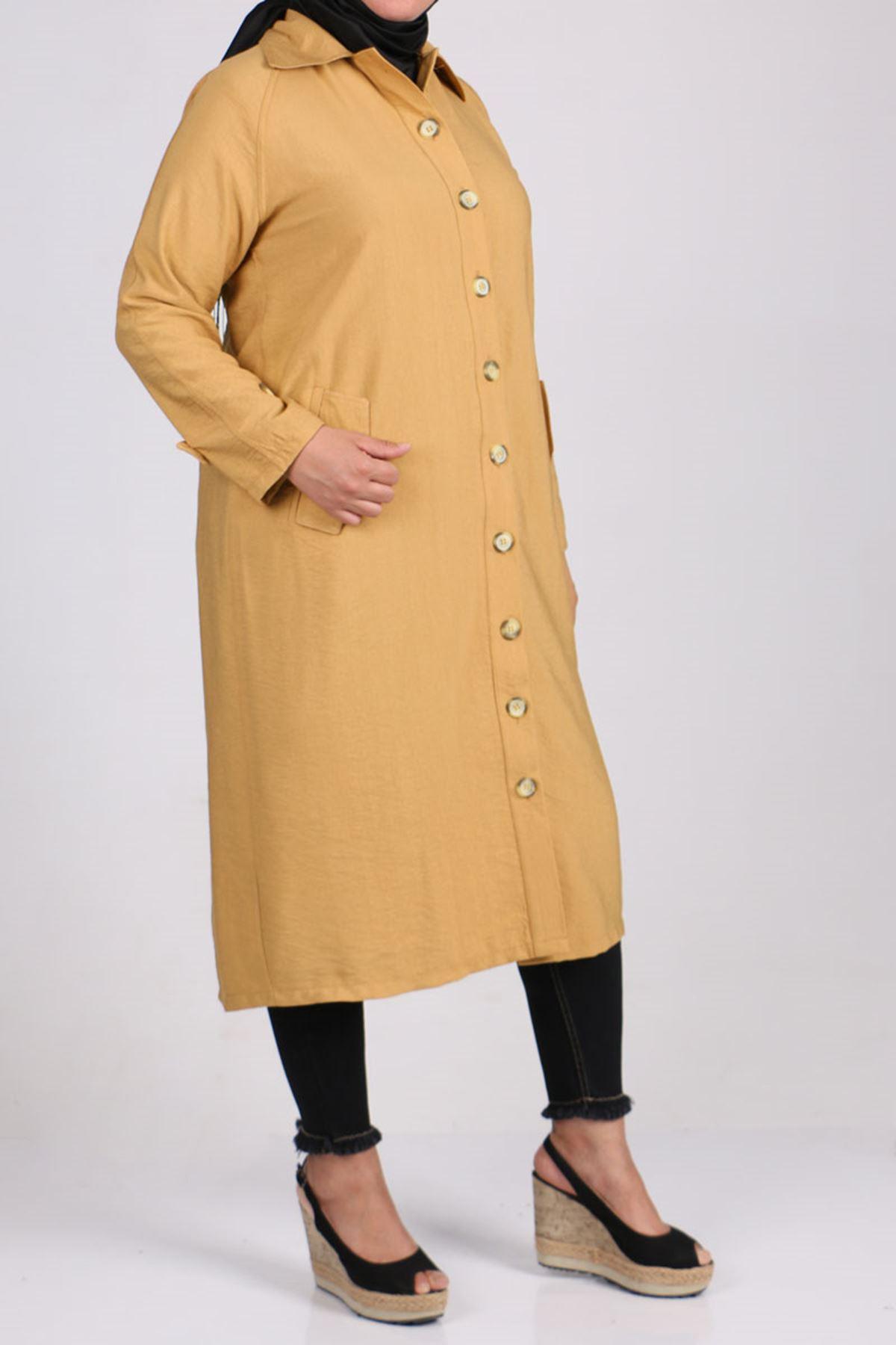 3161 معطف ترينش مقاس كبير بأزرار - زعفران