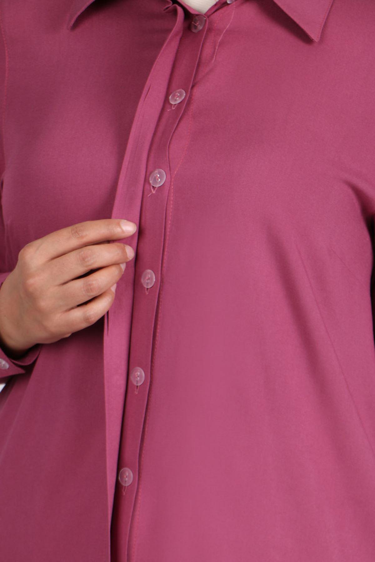 8471 Büyük Beden Viskon Gömlek - Açık Gül