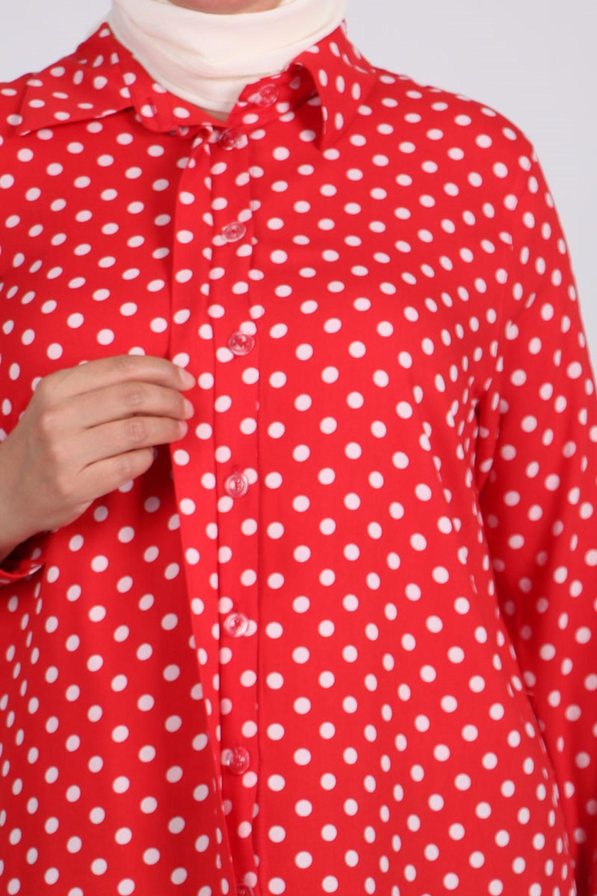 8471 Büyük Beden Viskon Gömlek - Kırmızı-Beyaz Puanlı