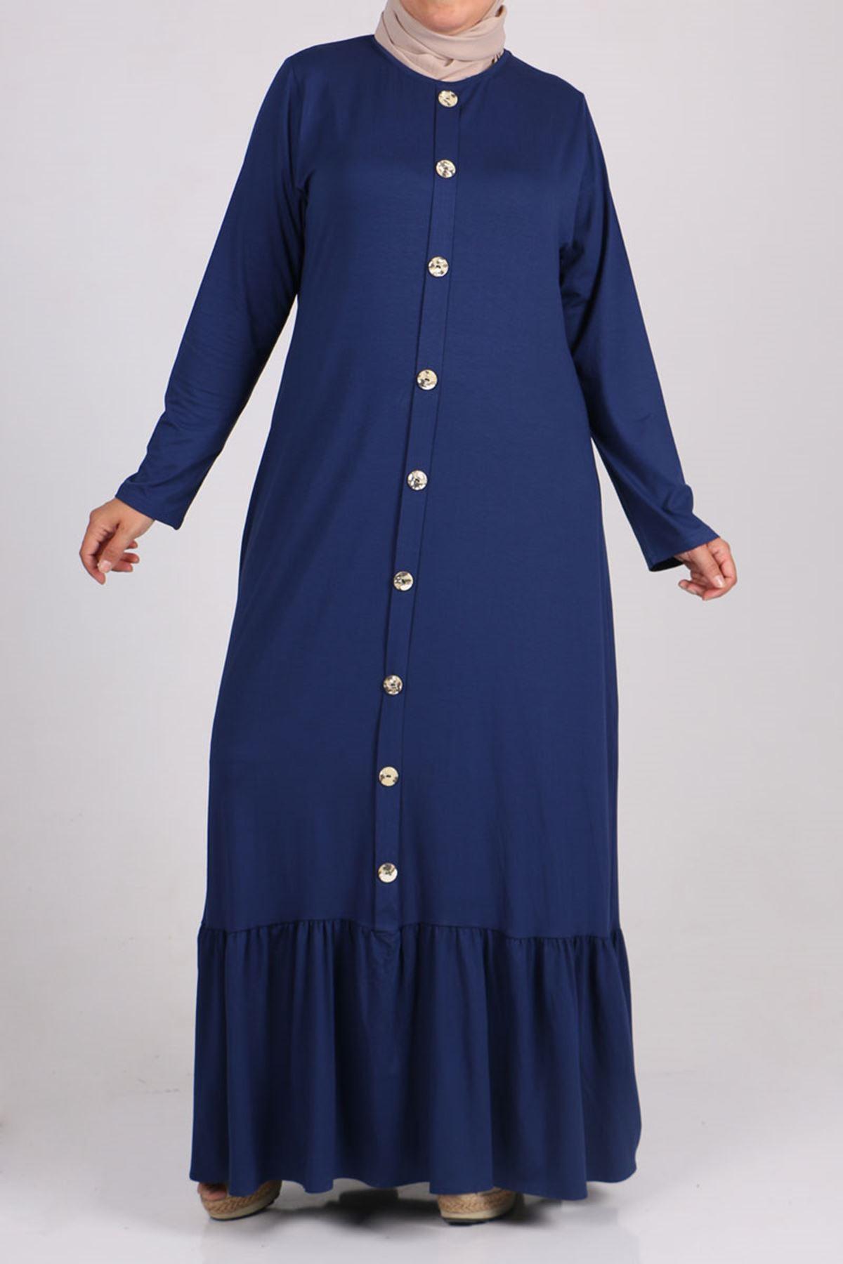 2090 Büyük Beden Önü Düğmeli Penye Elbise - İndigo