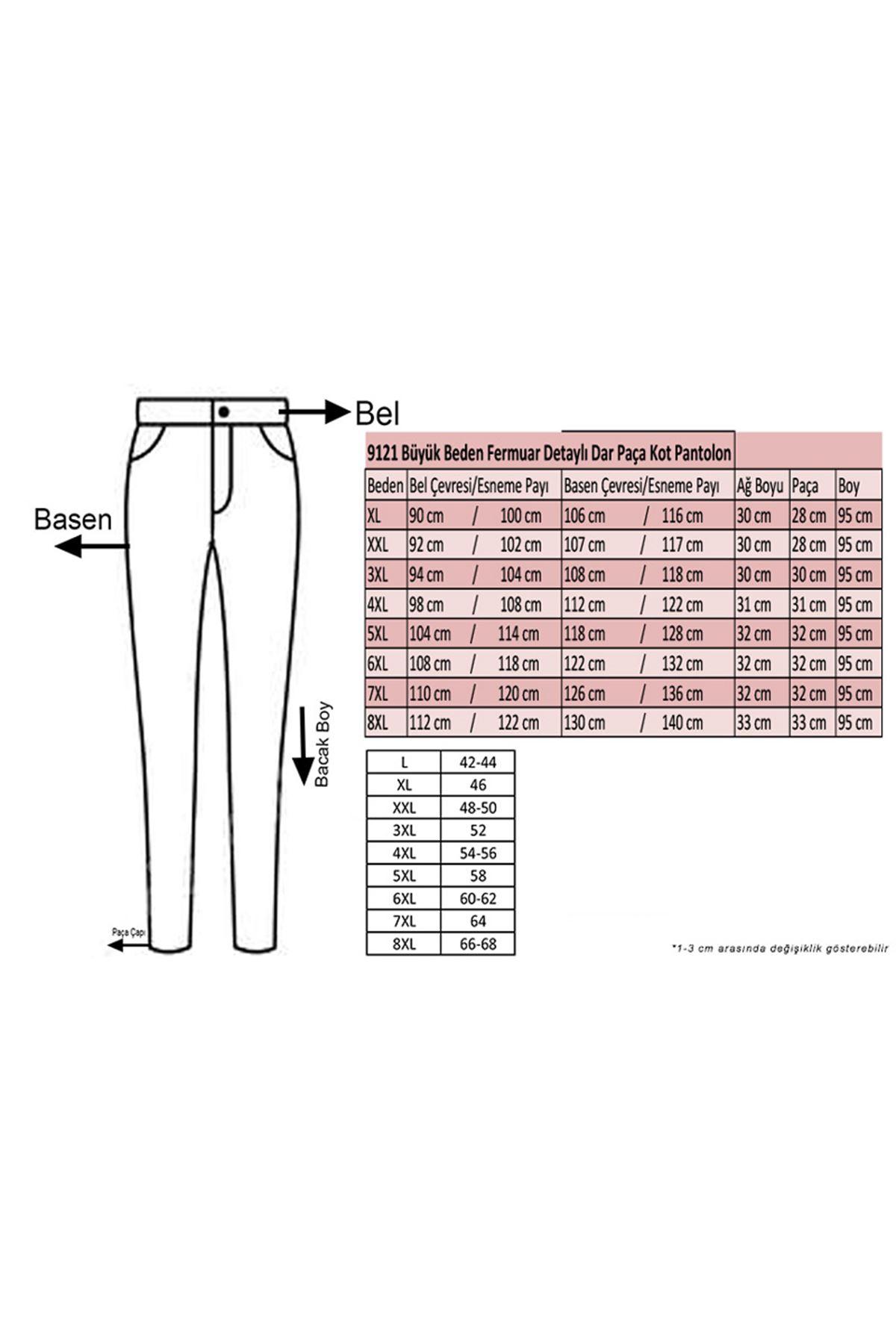 9121-1 Büyük Beden Fermuar Detaylı Dar Paça Kot Pantalon-Beyaz