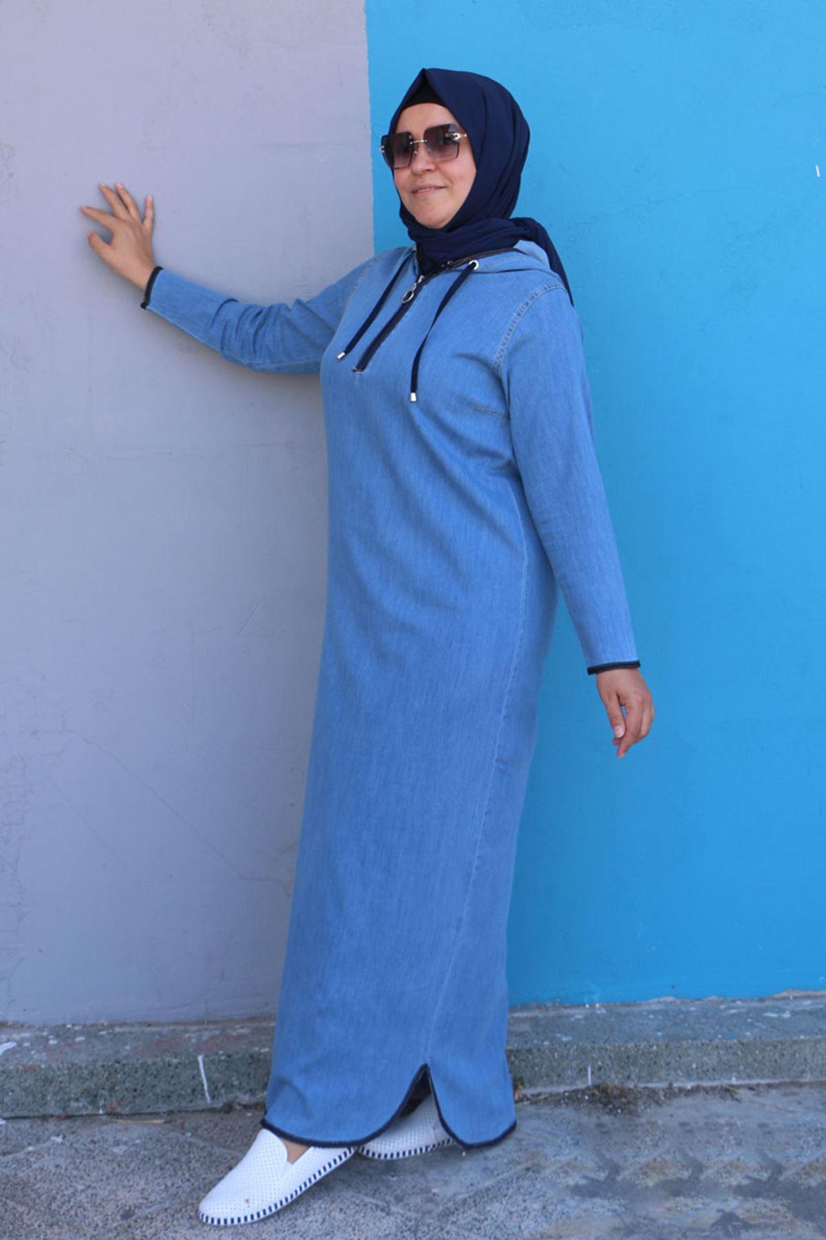 2091 Büyük Beden Kot Kapüşonlu Elbise - Buz Mavi