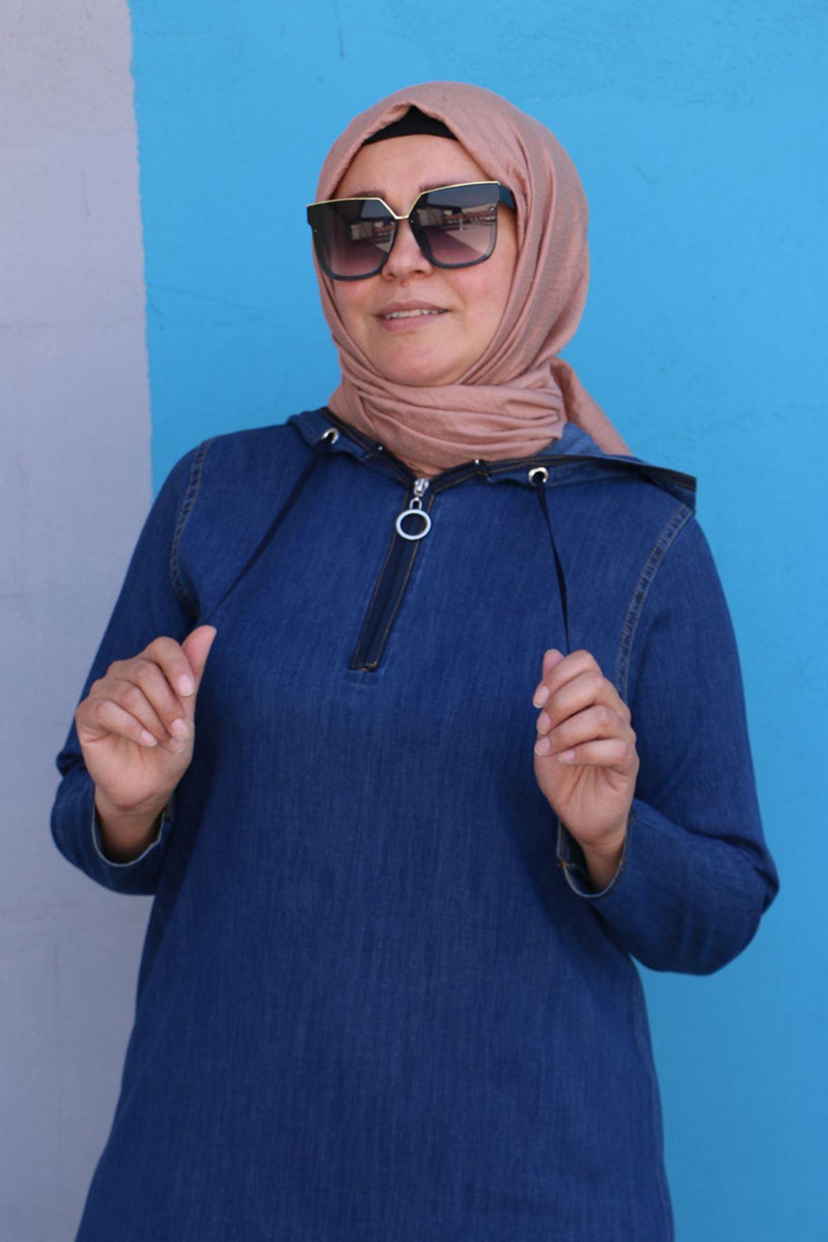 2091 Büyük Beden Kot Kapüşonlu Elbise - Mavi