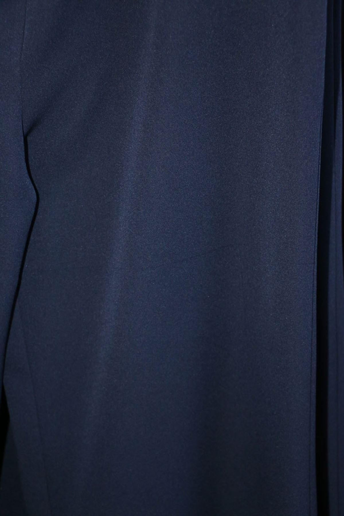 D-9024-1 Büyük Beden Likralı Bol Paça Defolu Pantolon - Açık Lacivert