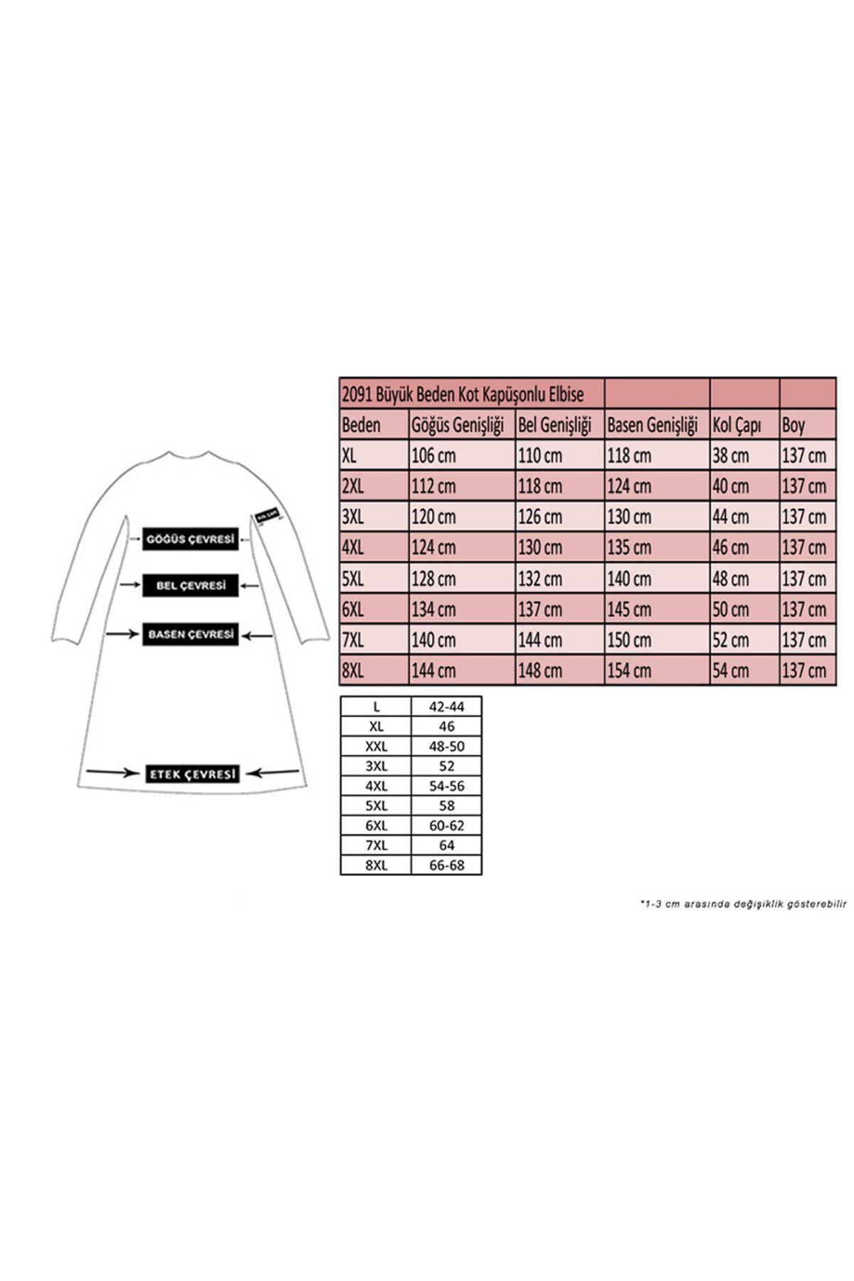2091 Büyük Beden Kot Kapüşonlu Elbise - Lacivert