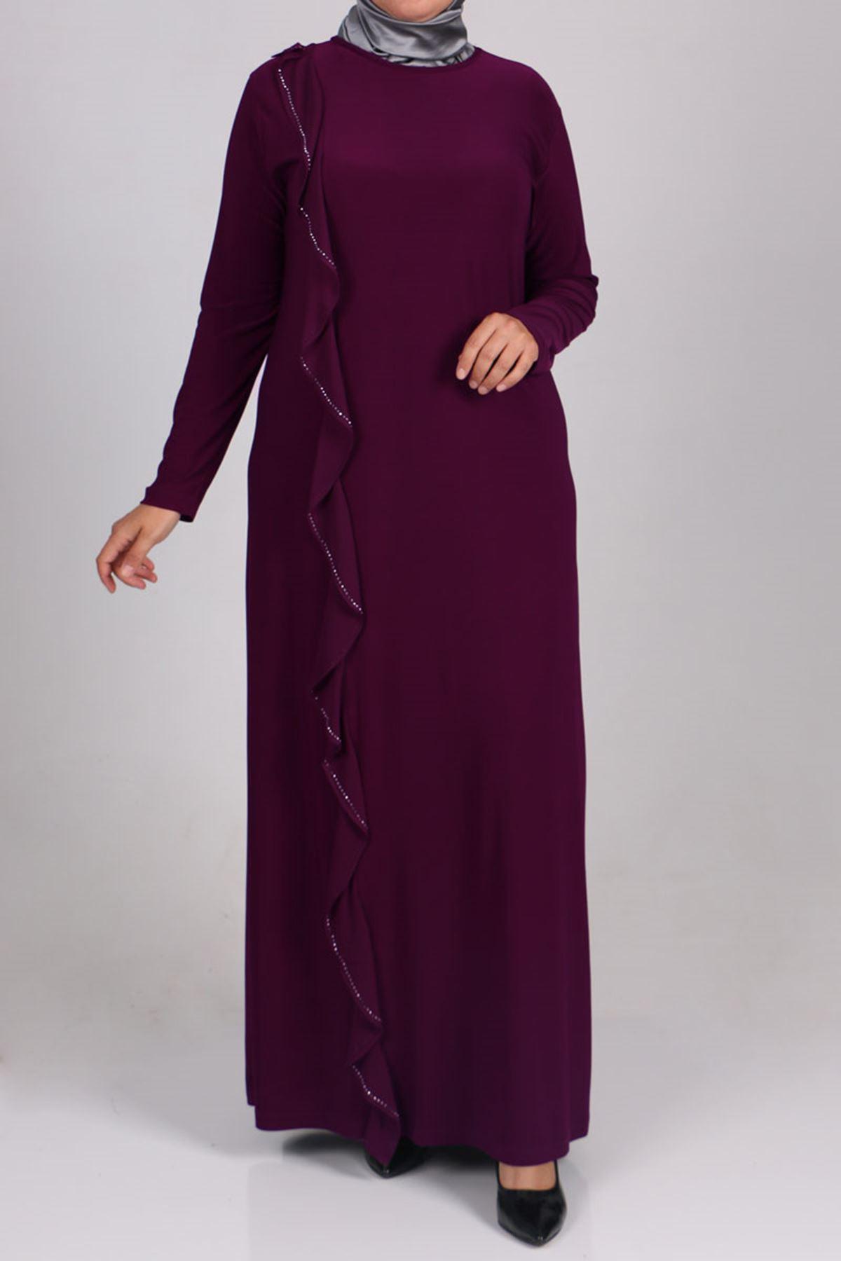 2087  فستان مُطبّع  بالحجر مقاس كبير -  ارجواني داكن