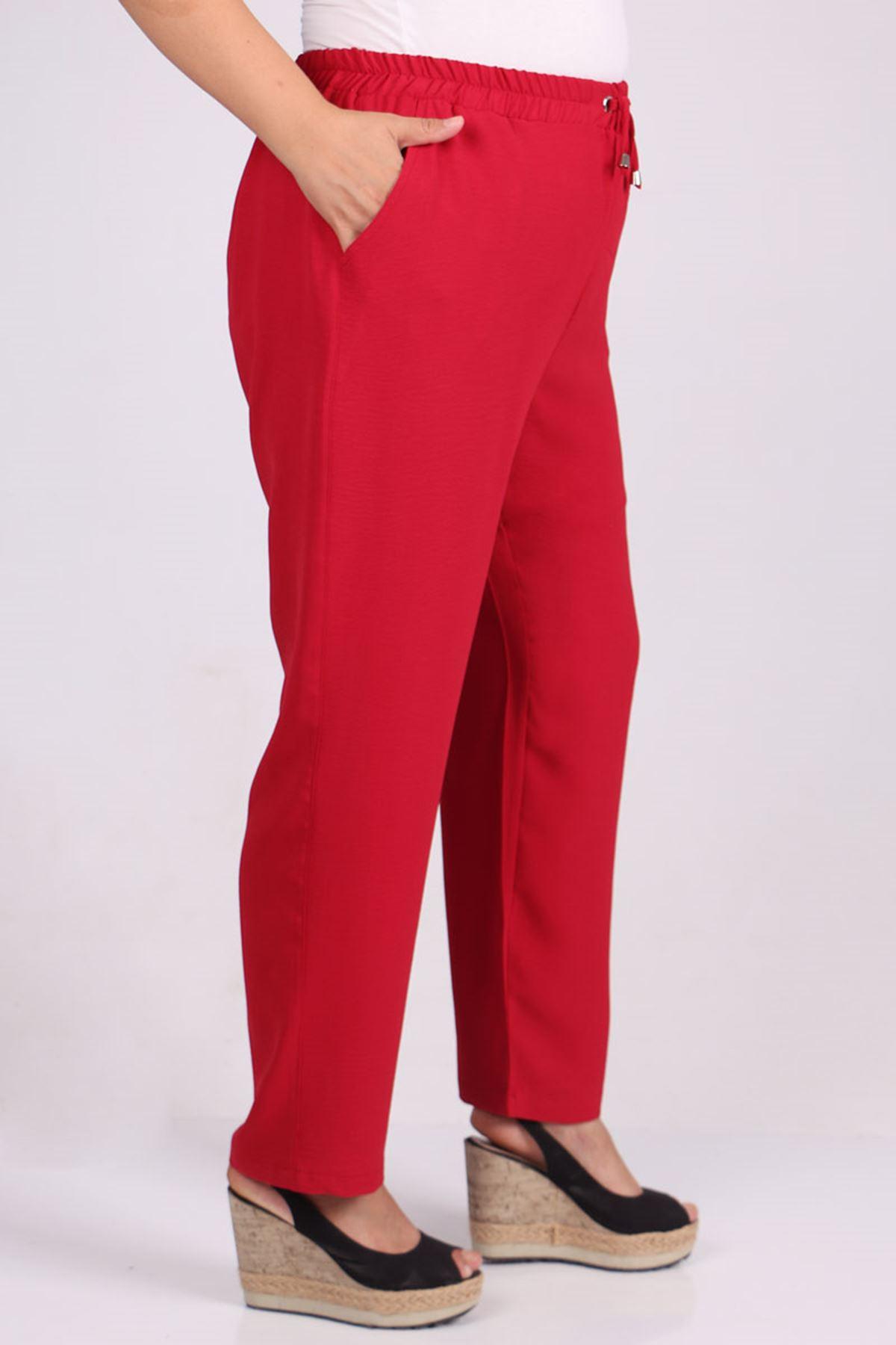 9161 Büyük Beden Lastikli Airobin Dar Paça Pantolon - Kırmızı