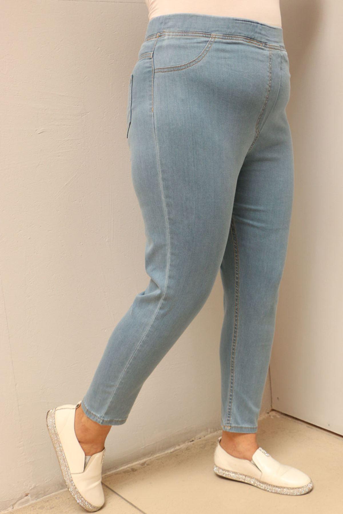 9109-13 Büyük Beden Beli Lastikli Dar Paça Pantolon - Mavi