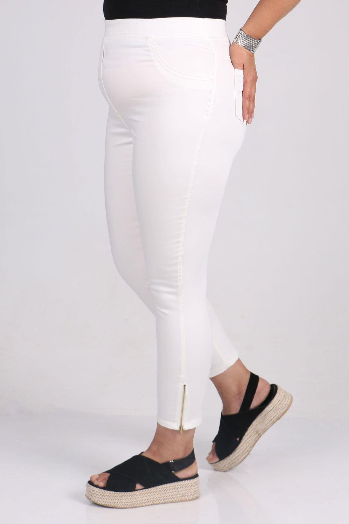 9121-1 Plus Size Zipper Detailed Skinny Leg Jeans-Dark Blue