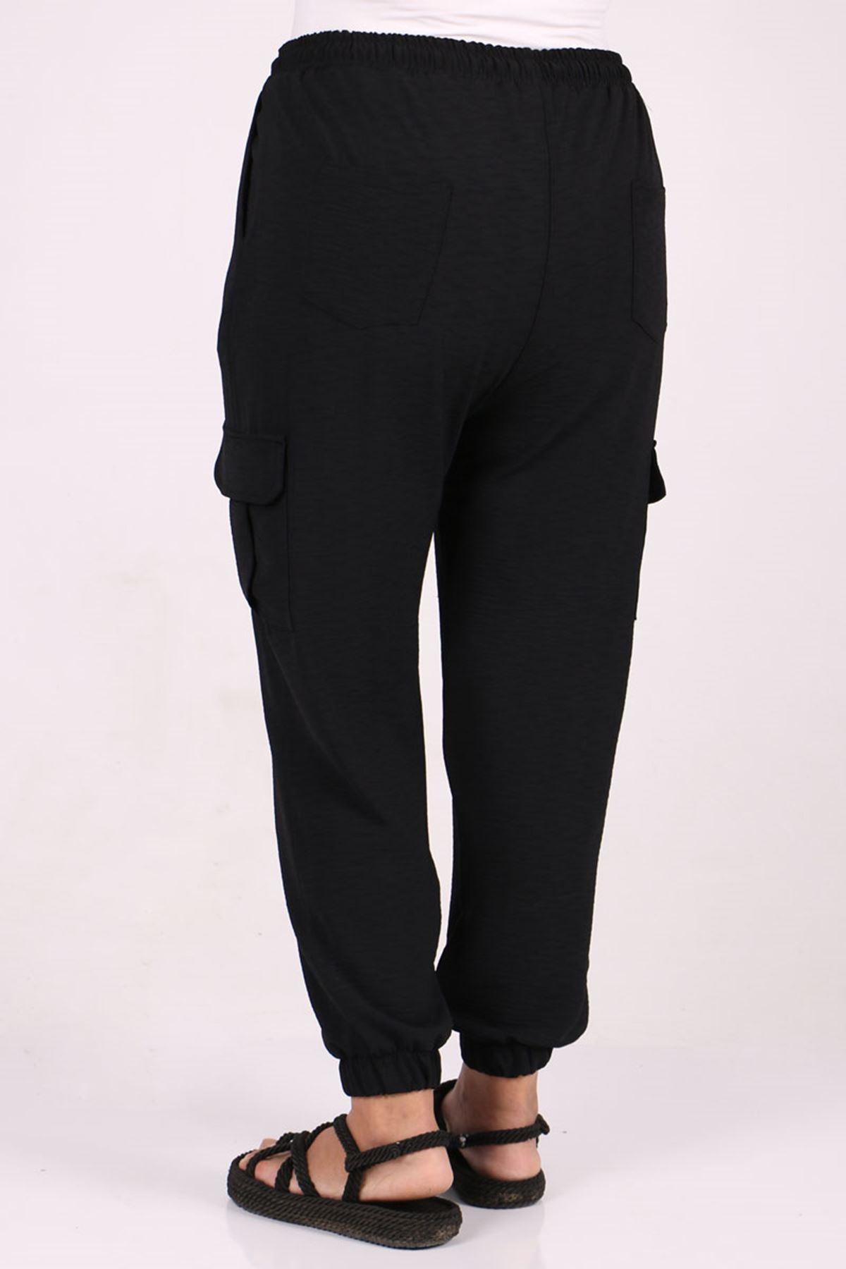 9168 Büyük Beden Lastikli Kuba Krep Pantolon - Siyah