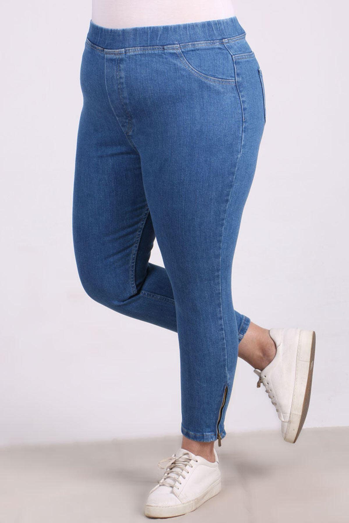9121 Plus Size Zipper Detailed Skinny Leg Jeans- Blue