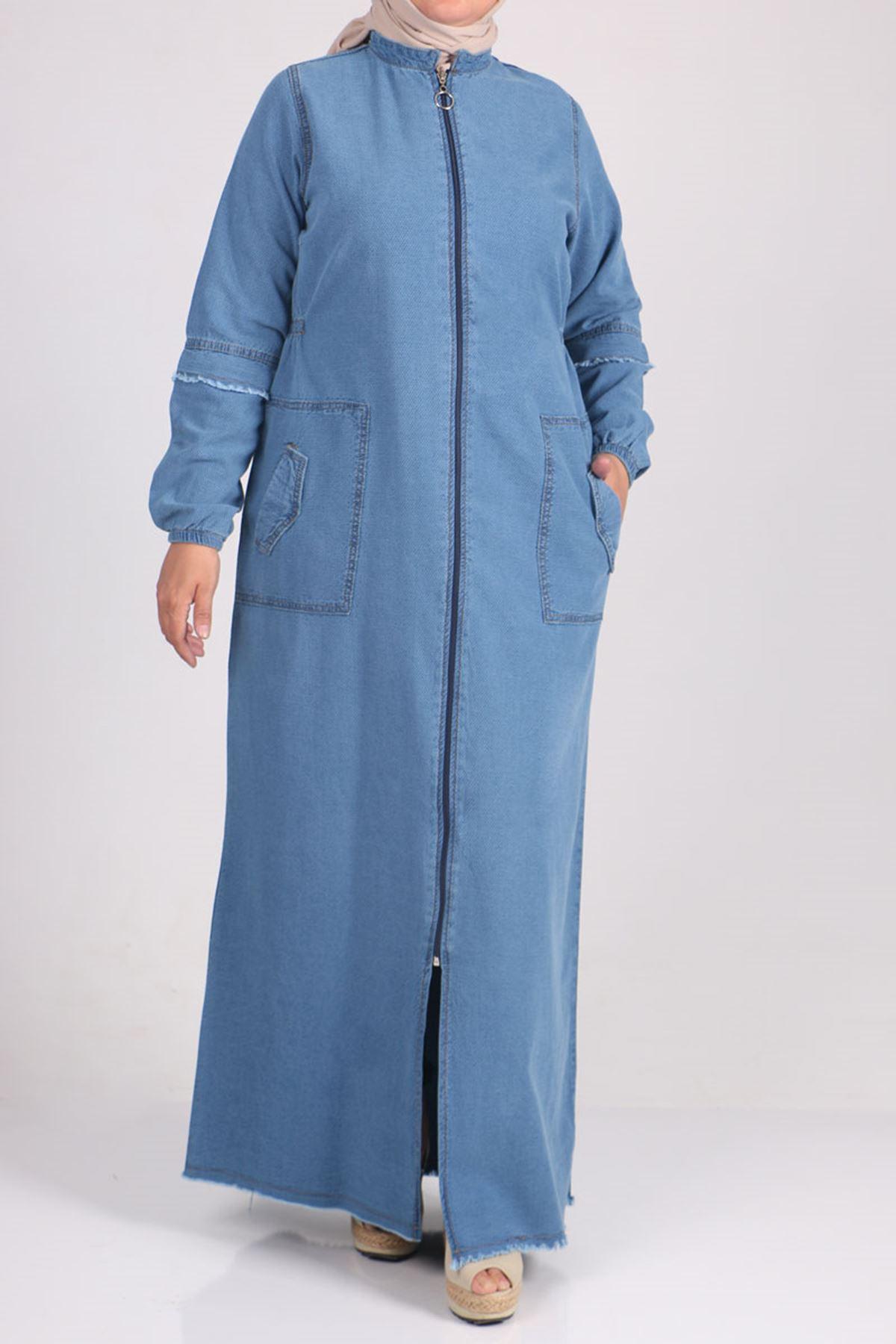 6043 Plus Size Zip-down Jeans Abaya - Blue