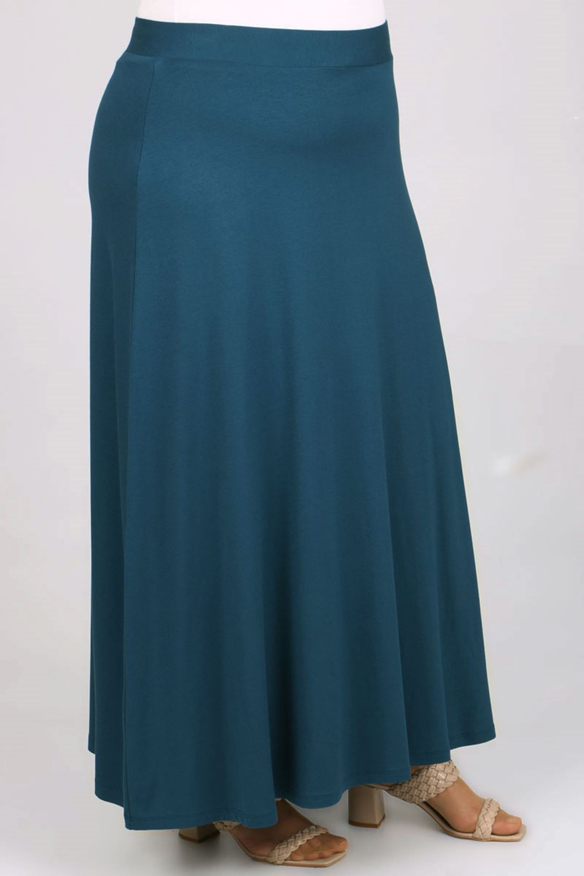 5031 Plus Size Basic Skirt - Petrol Blue