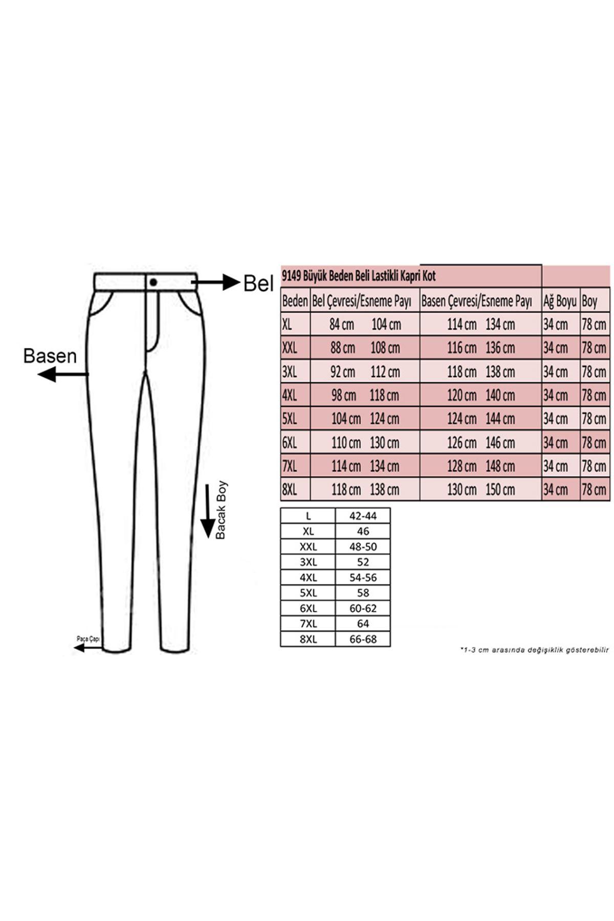 9149 Plus Size Elastic Waist Capri Jeans - Navy Blue