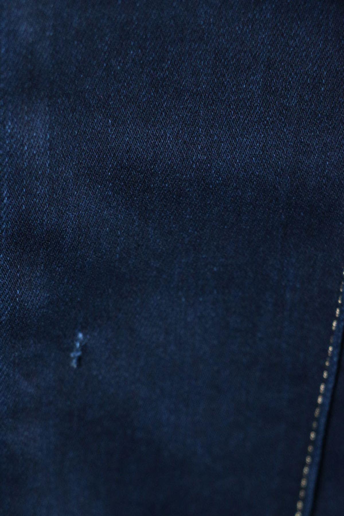 D-9127 Büyük Beden Defolu Çimalı Dar Paça Kot Pantalon-Lacivert