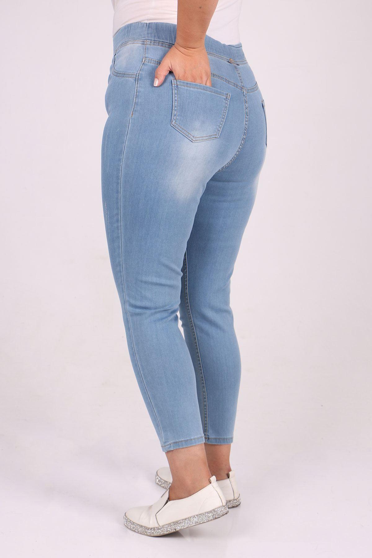9109-10 Büyük Beden Beli Lastikli Tırnaklı  Dar Paça Kot Pantalon-Buz Mavi