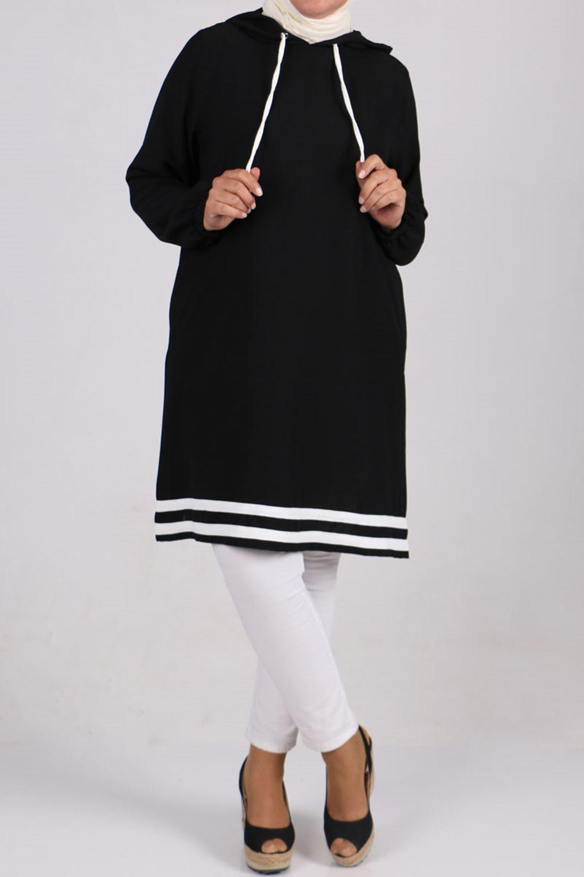 8481 Büyük Beden Moskino Şeritli Tunik - Siyah