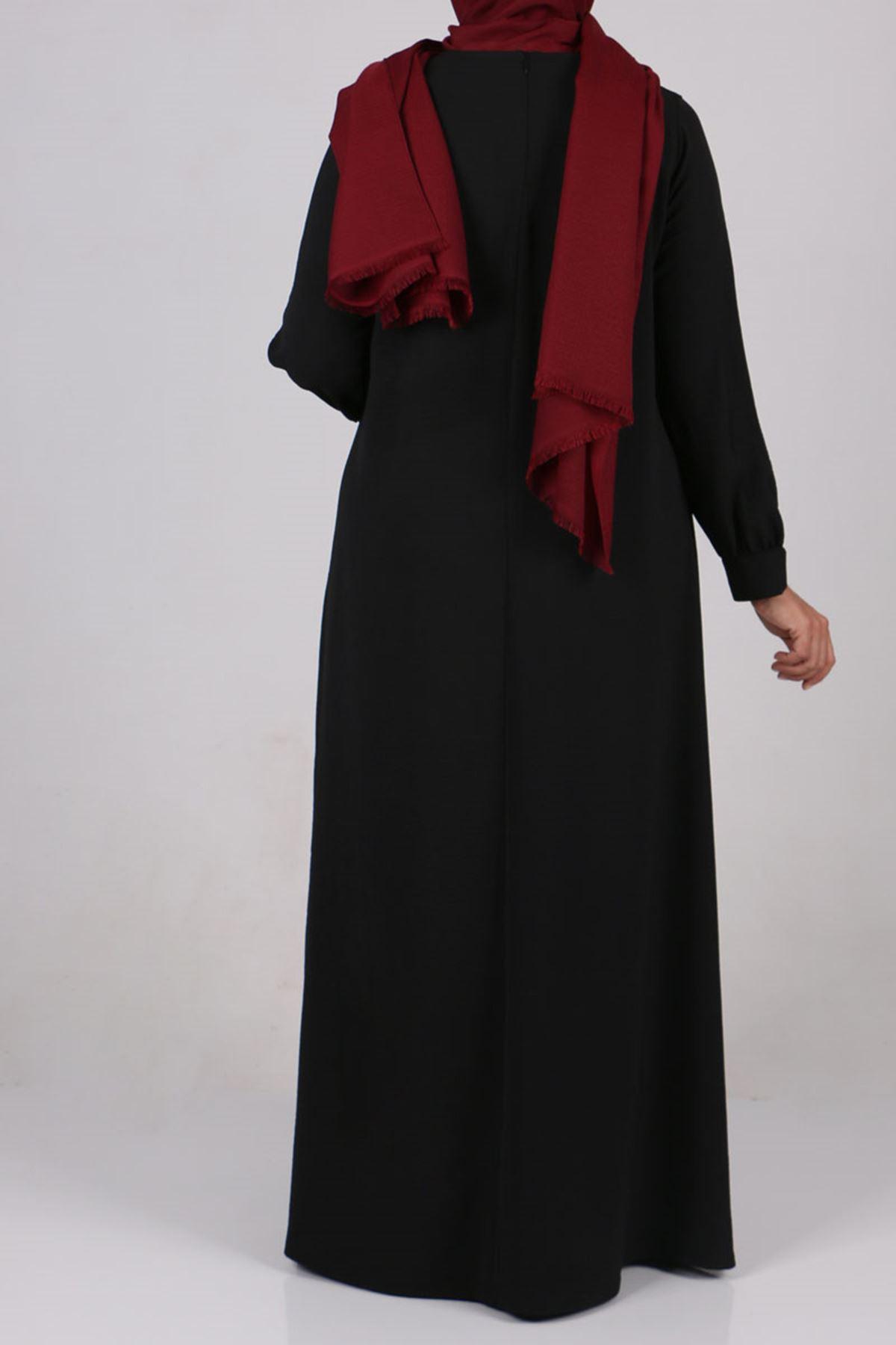 2102 Büyük Beden Airobin Elbise - Siyah