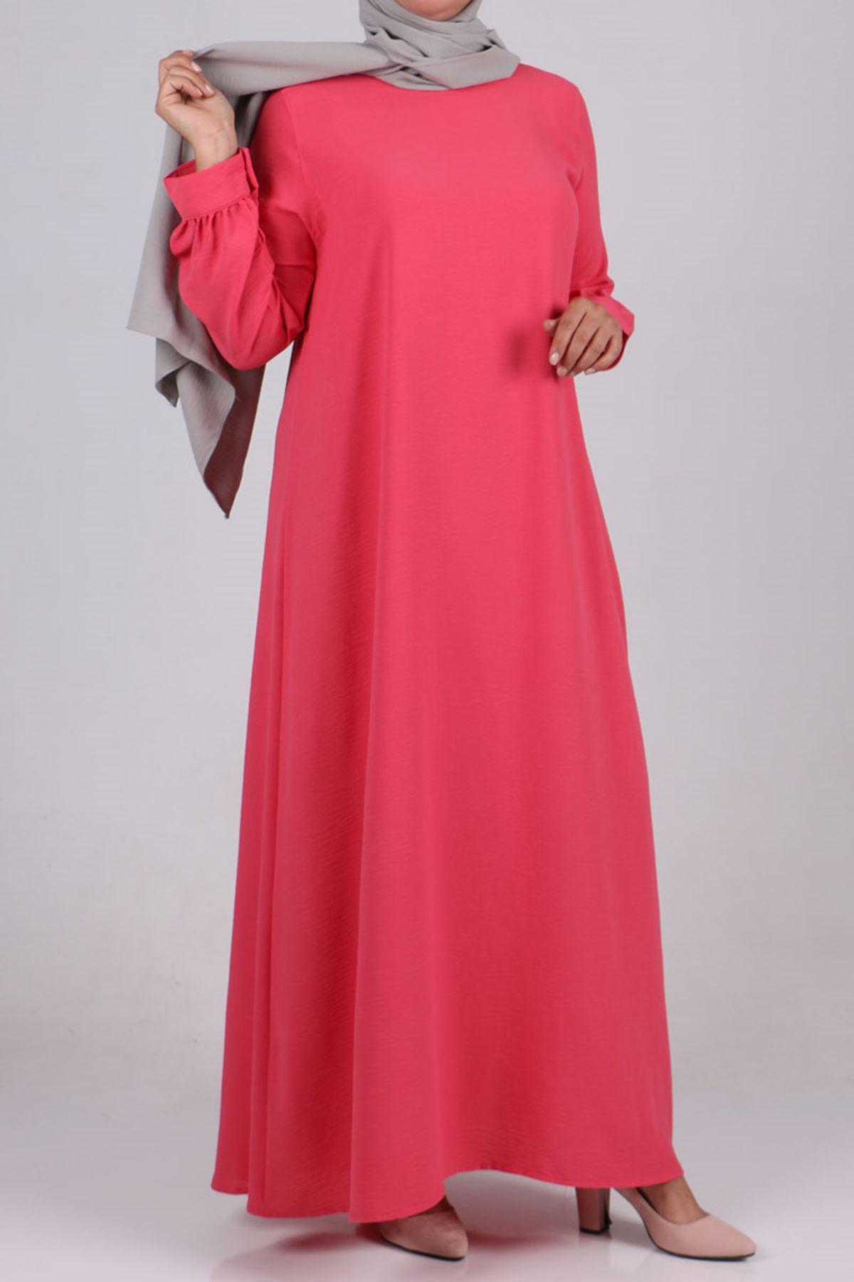 2102 Büyük Beden Airobin Elbise - Mercan Pembesi