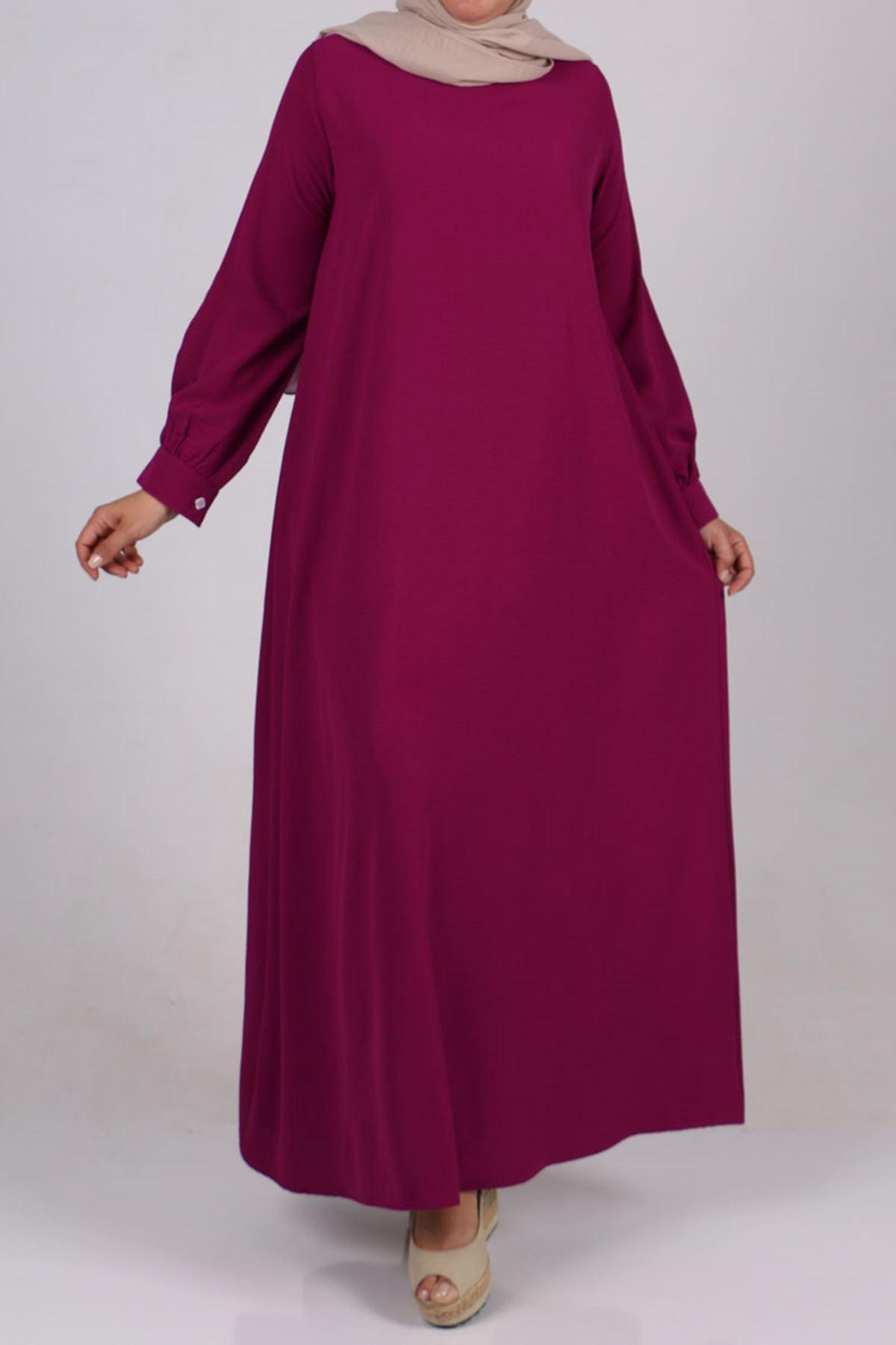 2102 Büyük Beden Airobin Elbise - Mürdüm