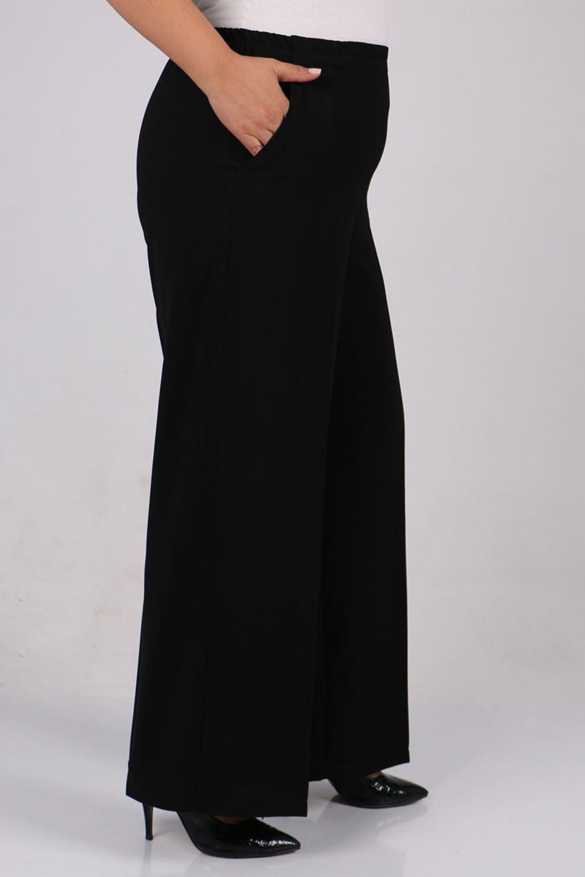 9171 Büyük Beden Beli Lastikli Çift Kat Krep Pantolon - Siyah