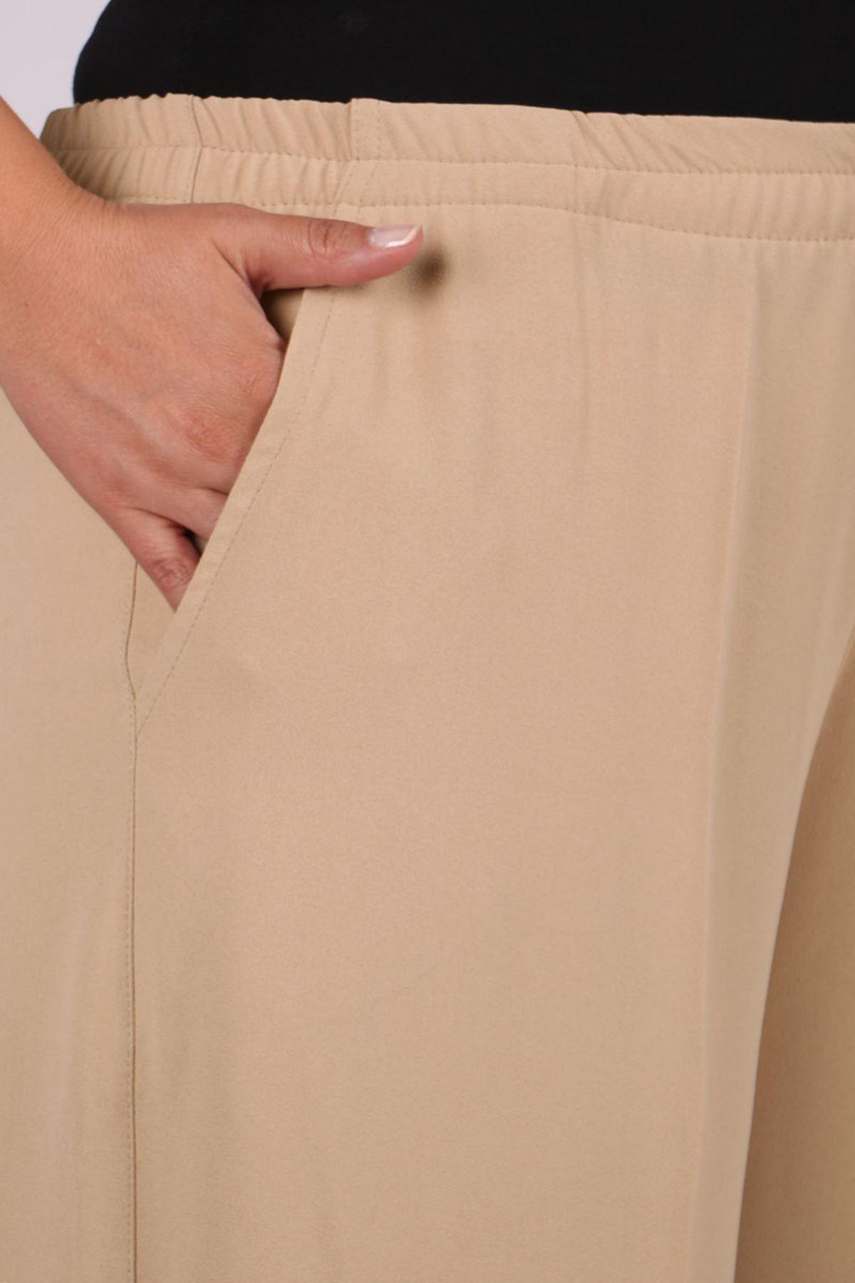 9171 Büyük Beden Beli Lastikli Çift Kat Krep Pantolon - Taş