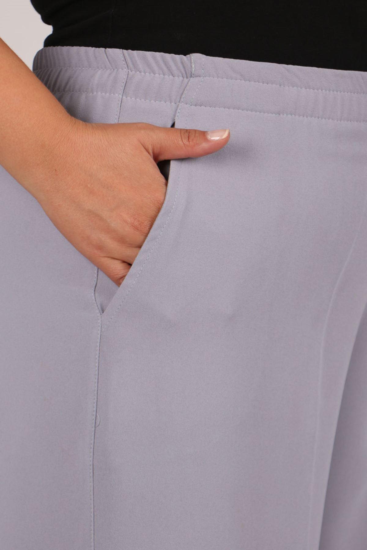 9171 Büyük Beden Beli Lastikli Çift Kat Krep Pantolon - Gri