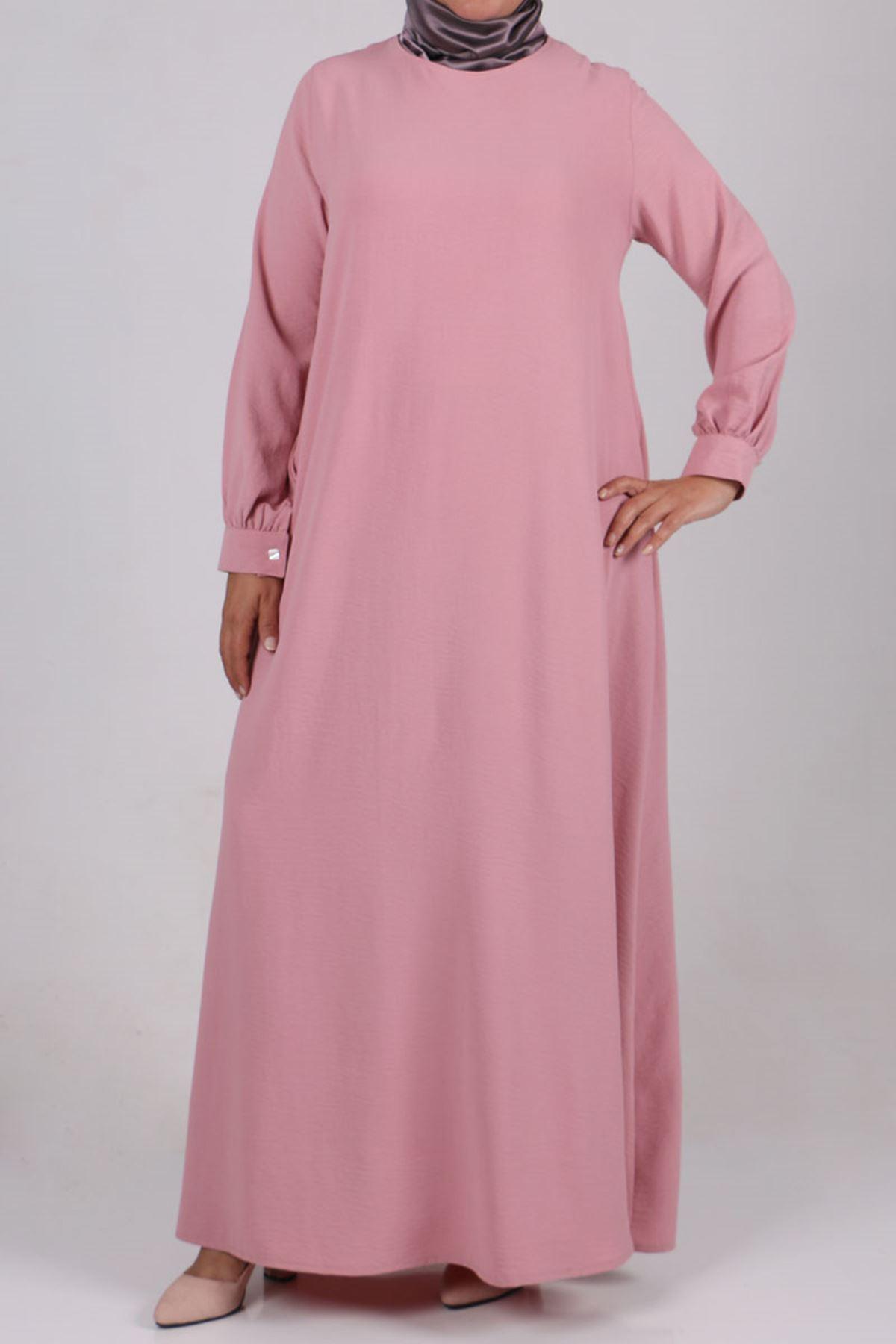 2102 Büyük Beden Airobin Elbise - Pudra