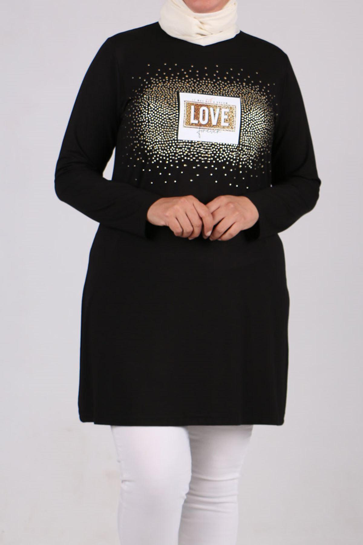 8478 Büyük Beden Love Baskılı Penye Tunik - Siyah