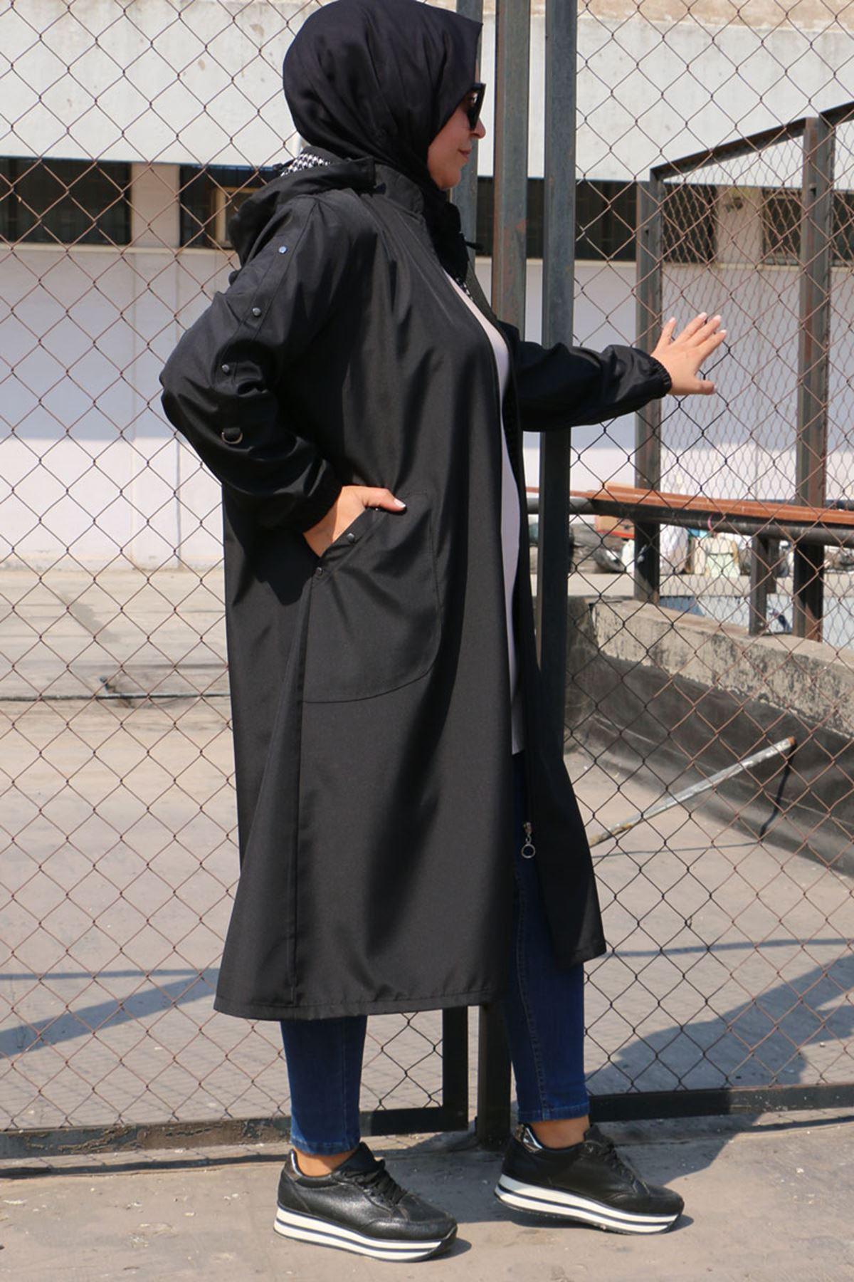 923 Büyük Beden Fermuarlı Bondit Trençkot - Siyah