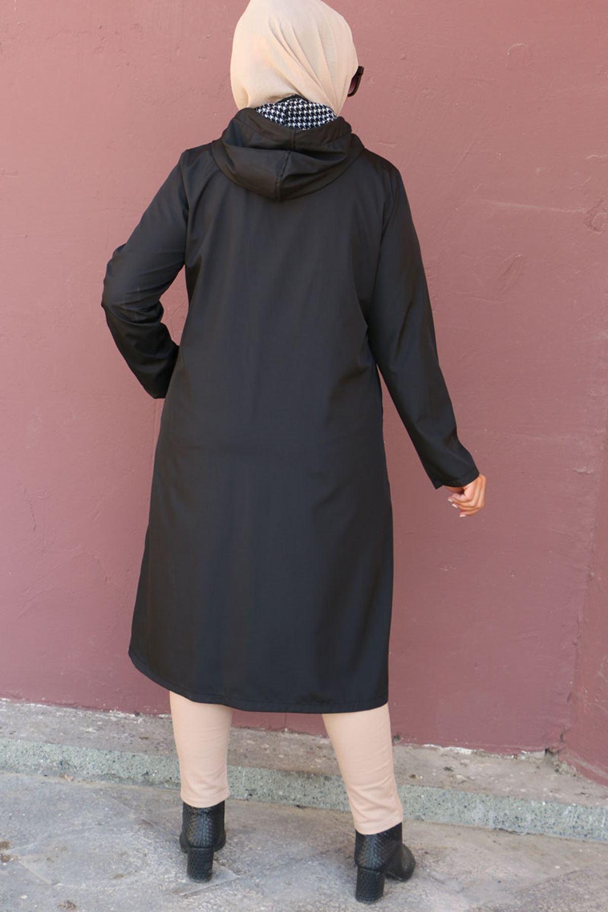 916 Büyük Beden Kapüşonlu Bondit Trençkot - Siyah