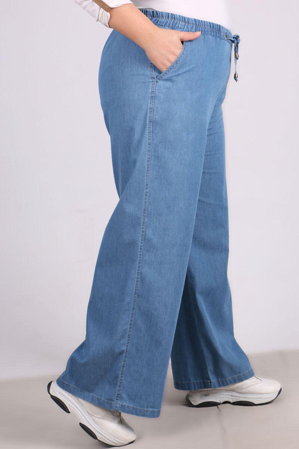 9124 بنطلون جينز واسع الساق و مقاس كبير- أزرق