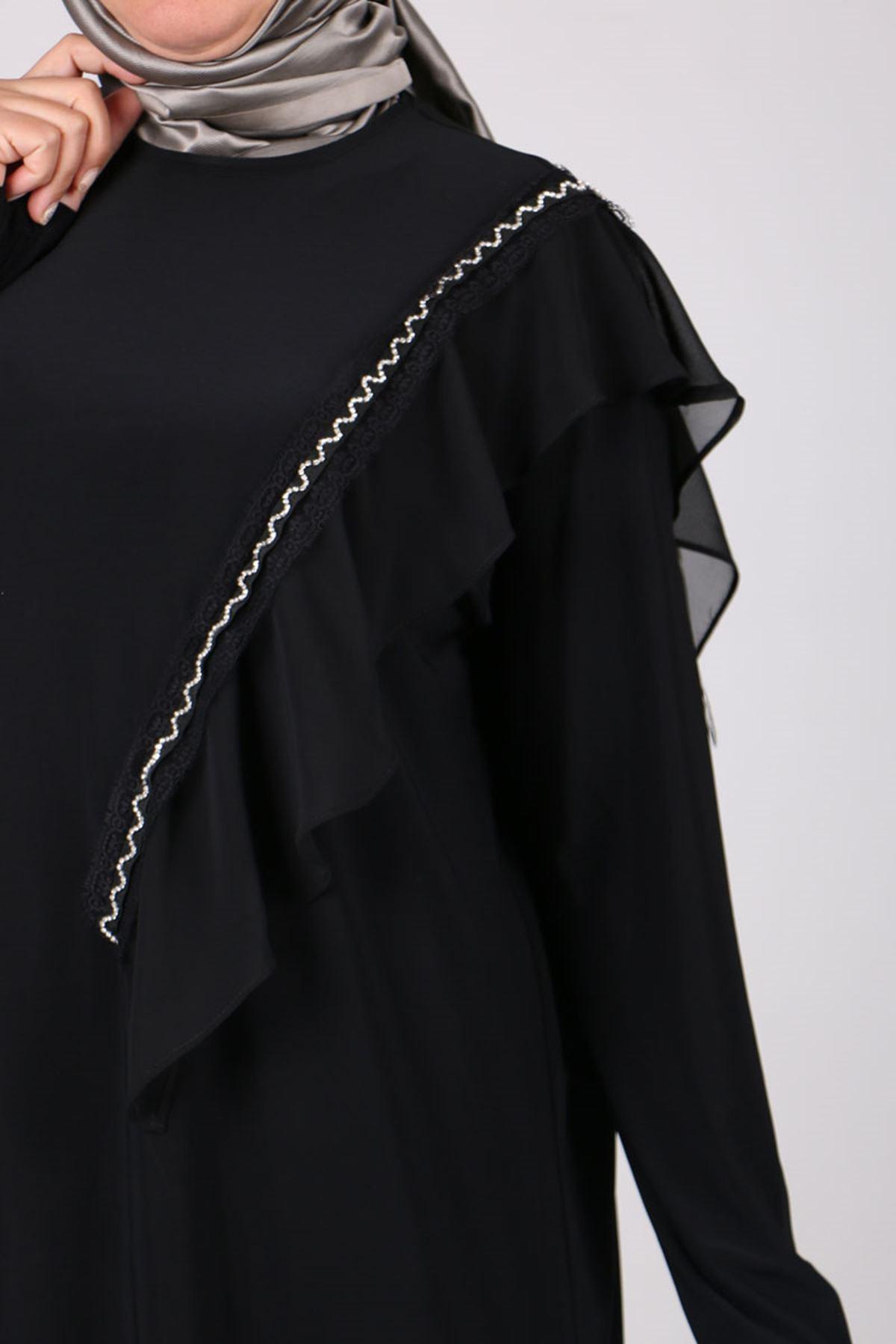 7711 Büyük Beden Sandy-Şifon Pantolonlu Takım - Siyah