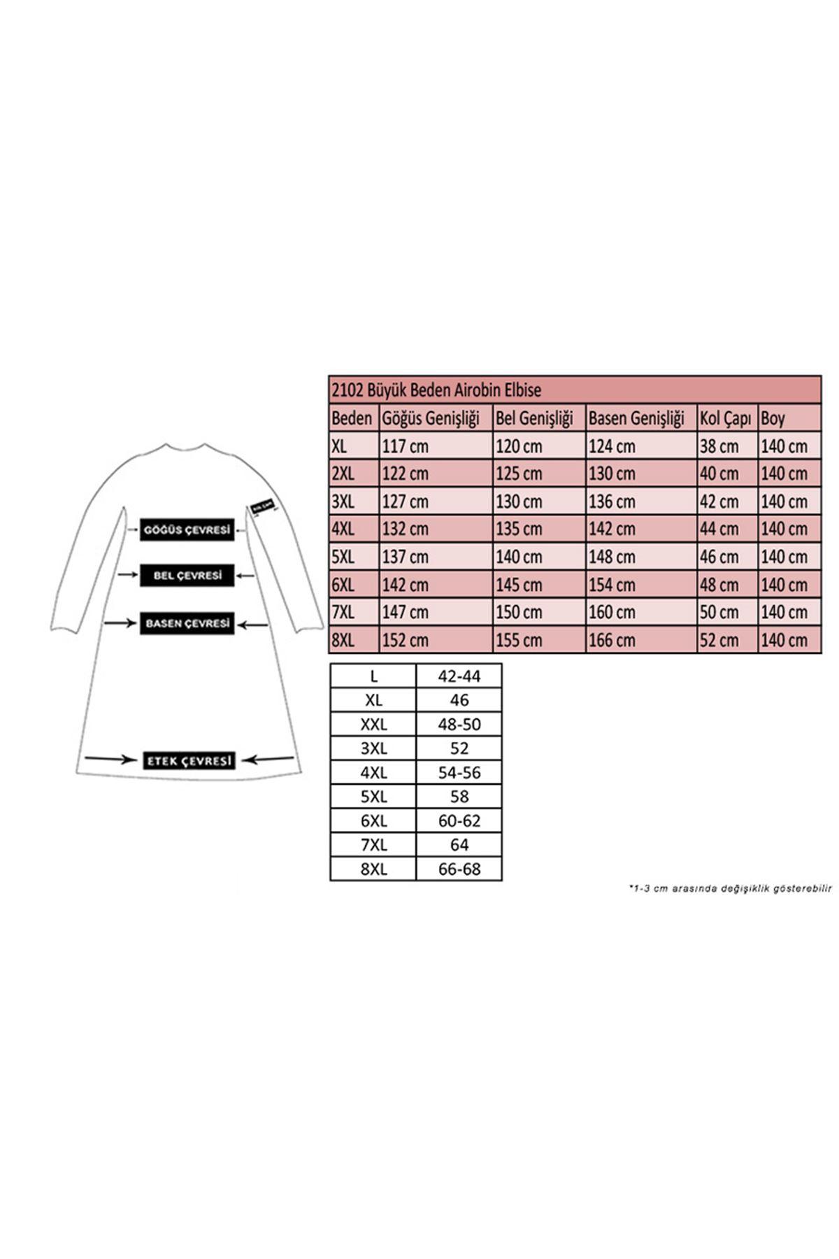 2102 Büyük Beden Airobin Elbise - Koyu Bej