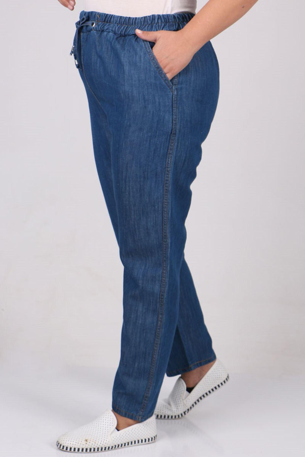 9173 Büyük Beden Dar Paça Kot Pantolon - Mavi