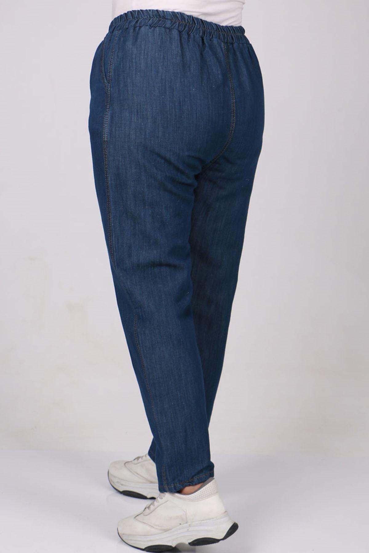9173 Büyük Beden Dar Paça Kot Pantolon - Lacivert
