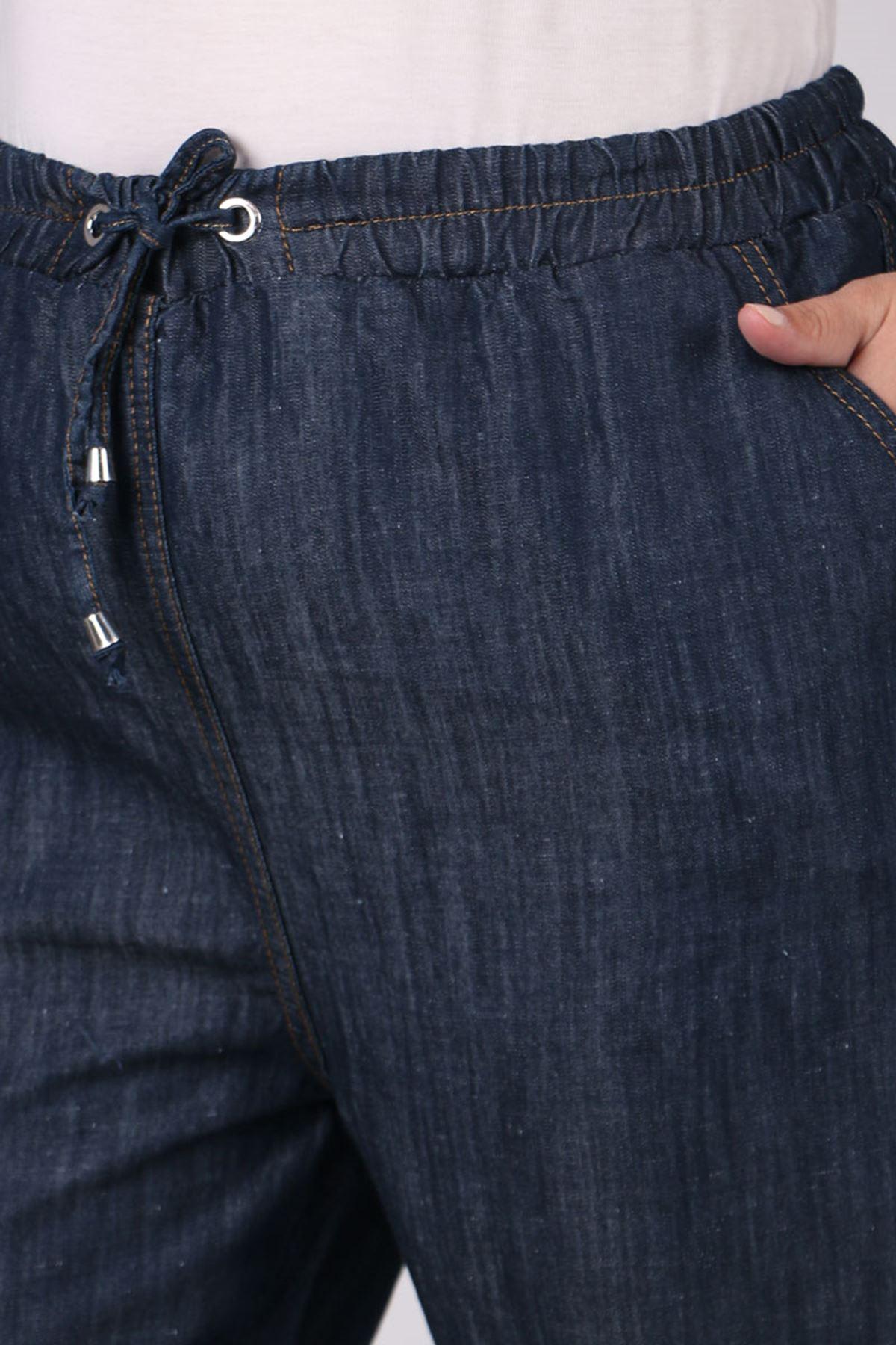 9173 Büyük Beden Dar Paça Kot Pantolon - Koyu Lacivert