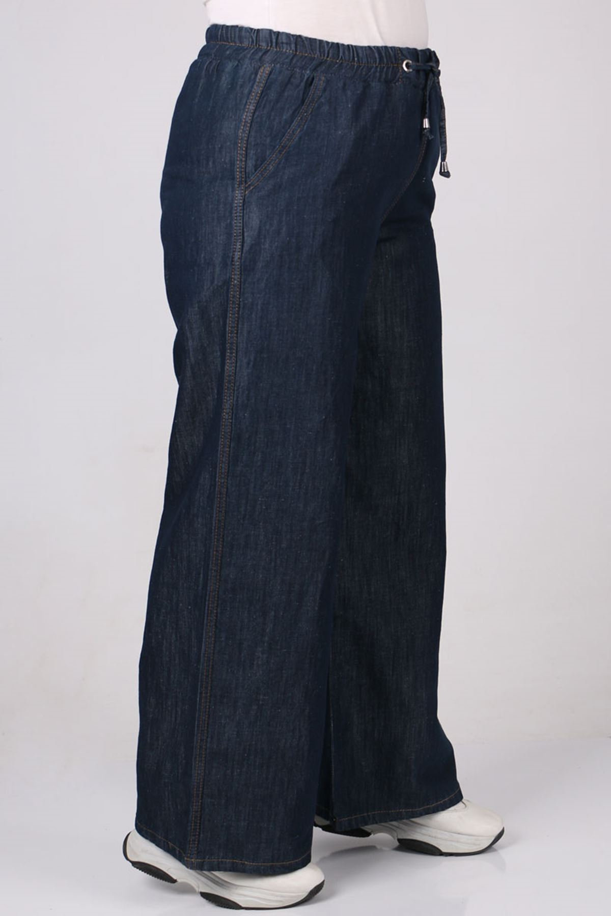 9174 Büyük Beden Bol Paça Kot Pantolon - Koyu Lacivert