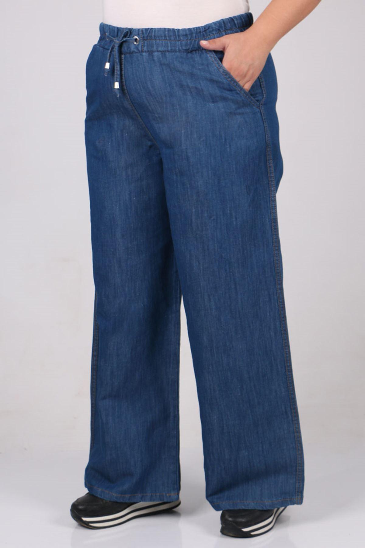 9174 Büyük Beden Bol Paça Kot Pantolon - Mavi