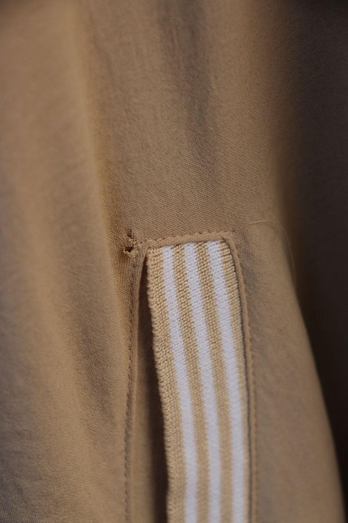 D-1021 Büyük Beden Defolu Airobin Elbise - Bej