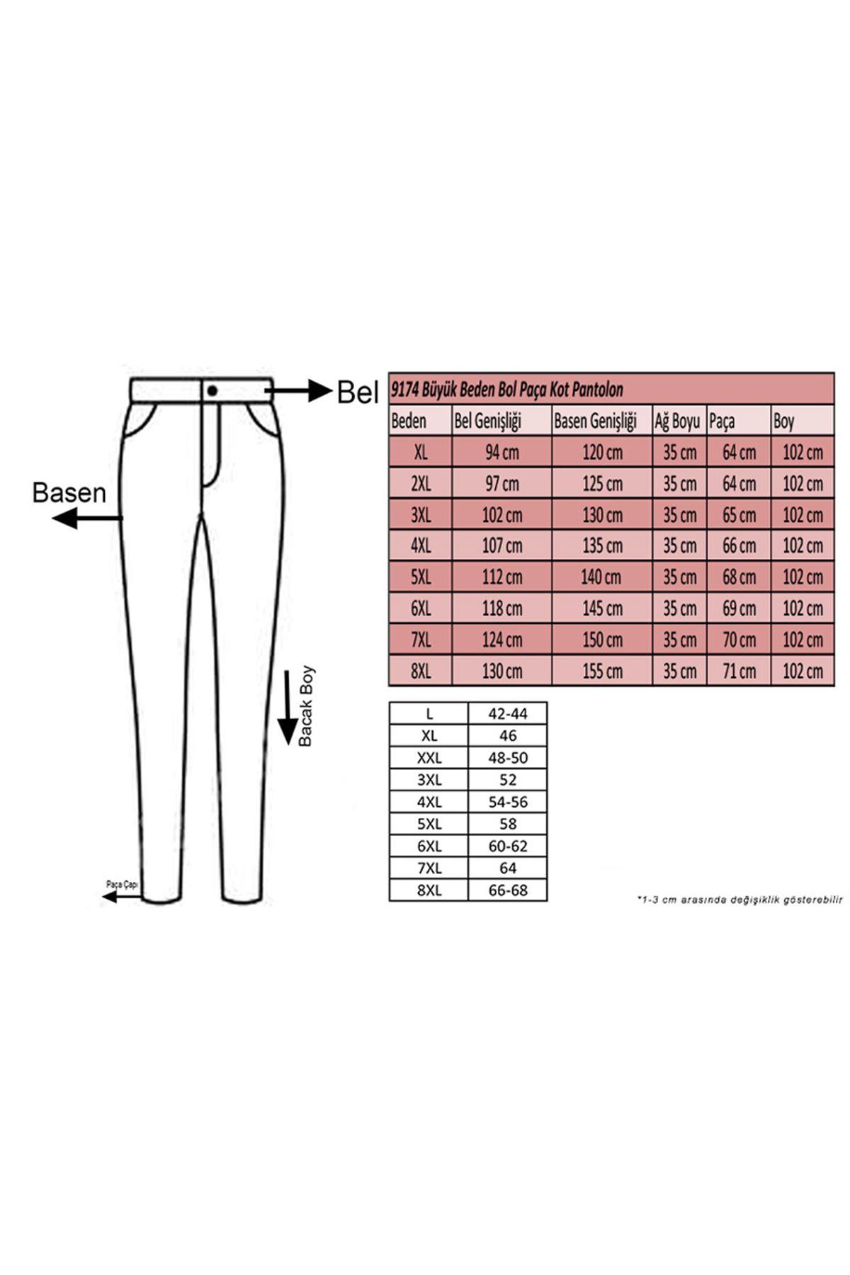 9174 Büyük Beden Bol Paça Kot Pantolon - Lacivert