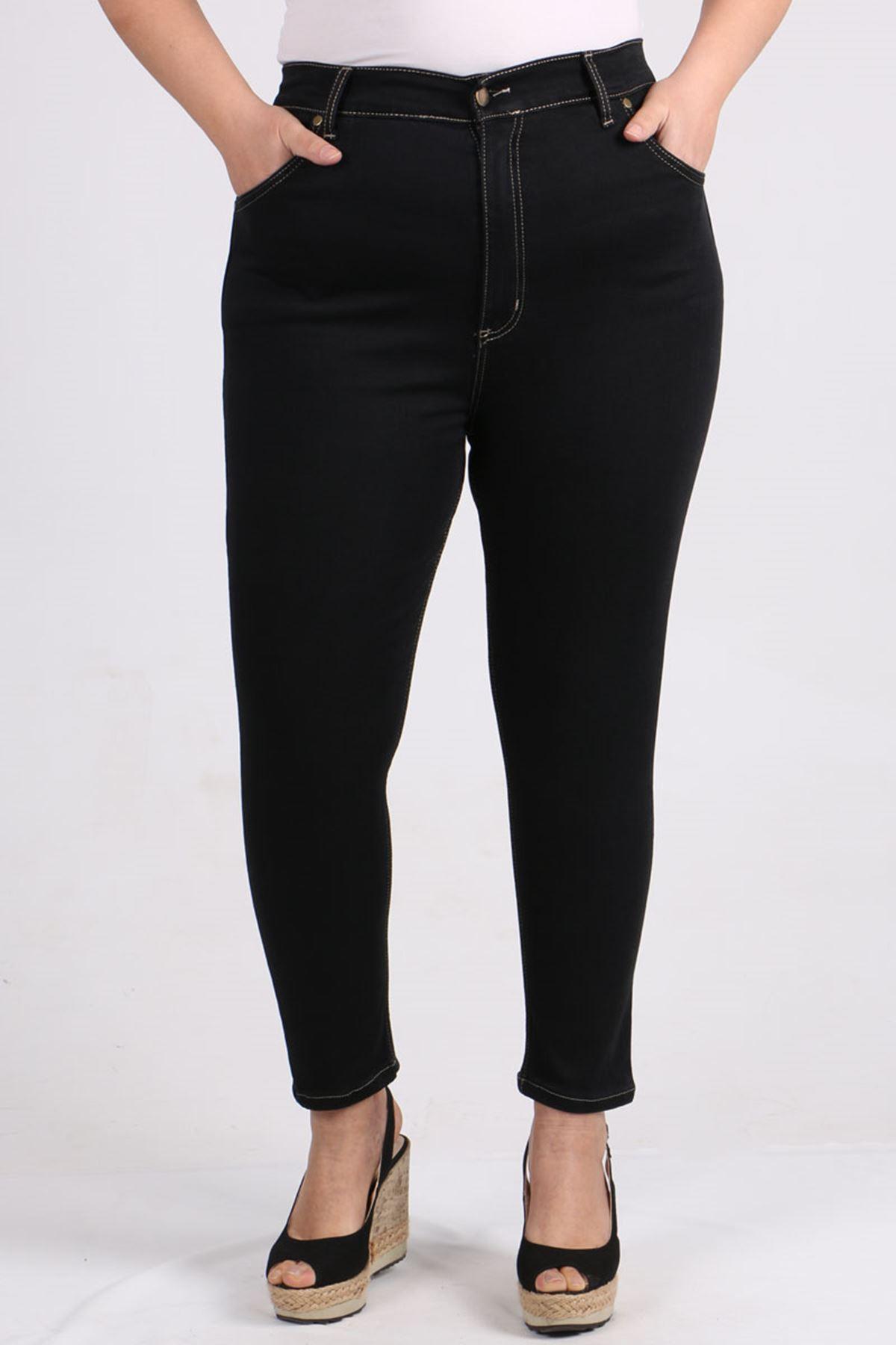 9107-1 Plus Size Skinny Leg Jeans - Black