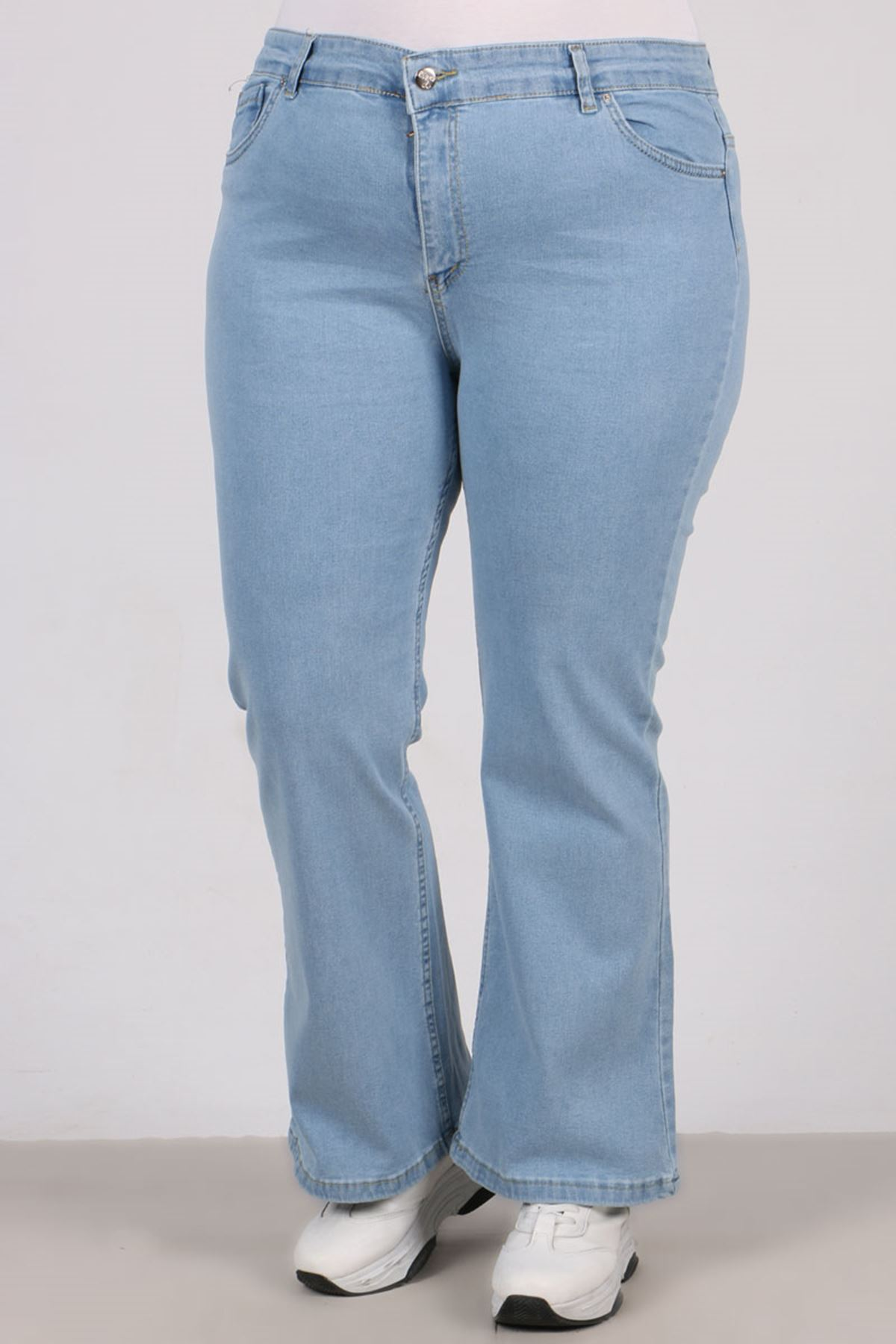 22142  Plus Size Full Lycra Flared Jeans- Light Blue